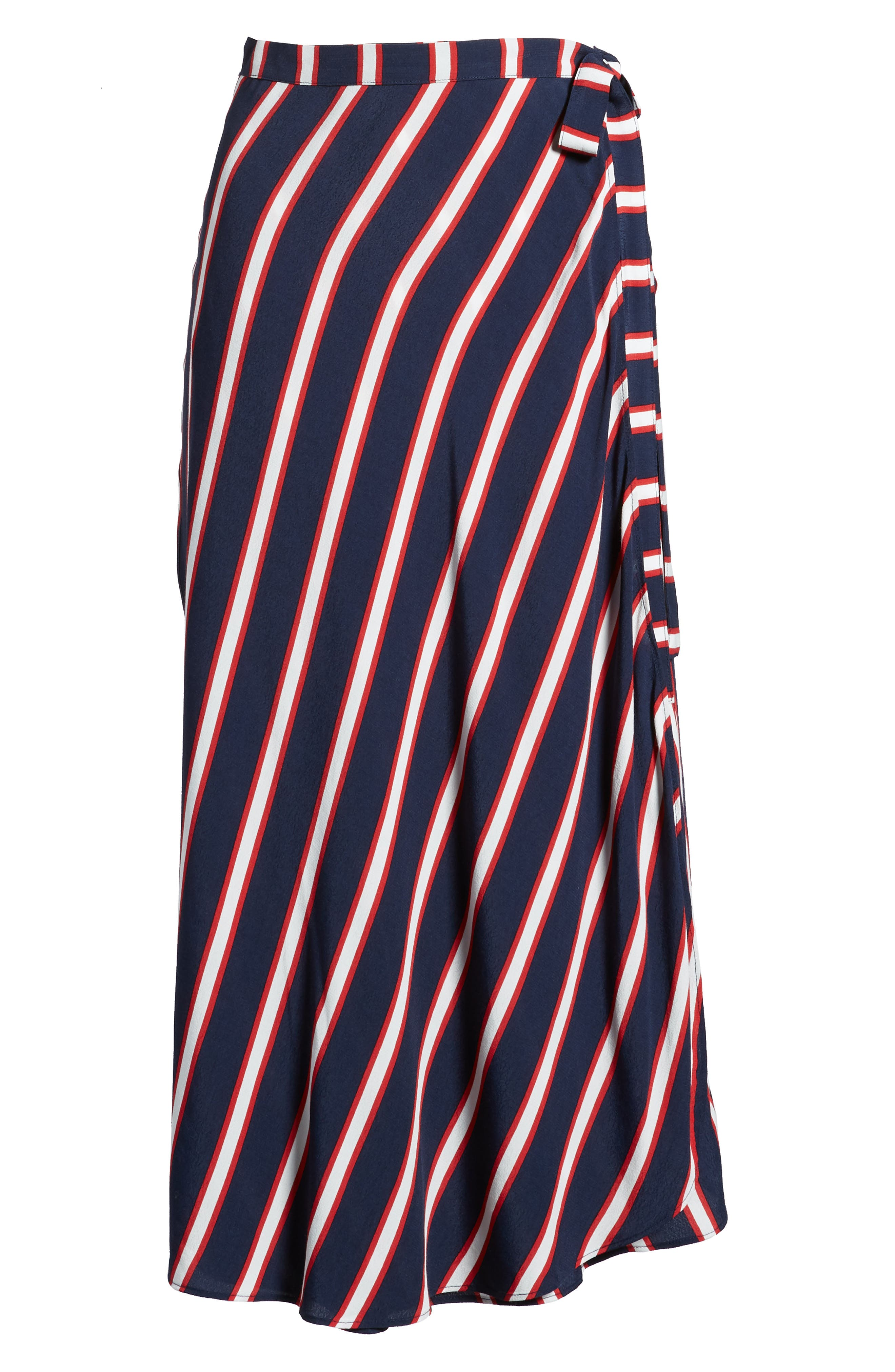 Stripe Midi Wrap Skirt,                             Alternate thumbnail 6, color,                             Navy Peacoat Awning Stripe