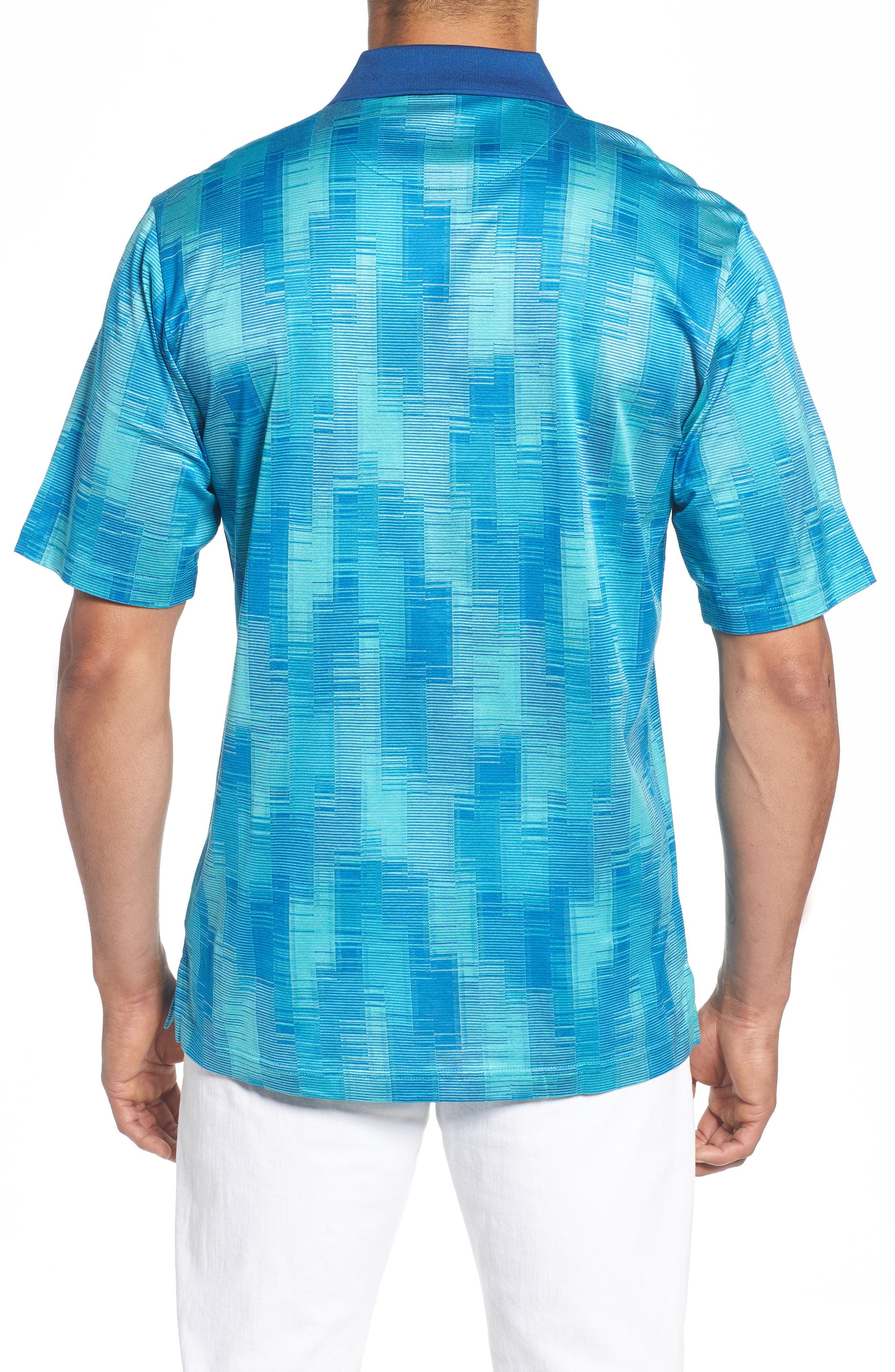Abstract Stripe Mercerized Cotton Polo,                             Alternate thumbnail 2, color,                             Turquoise