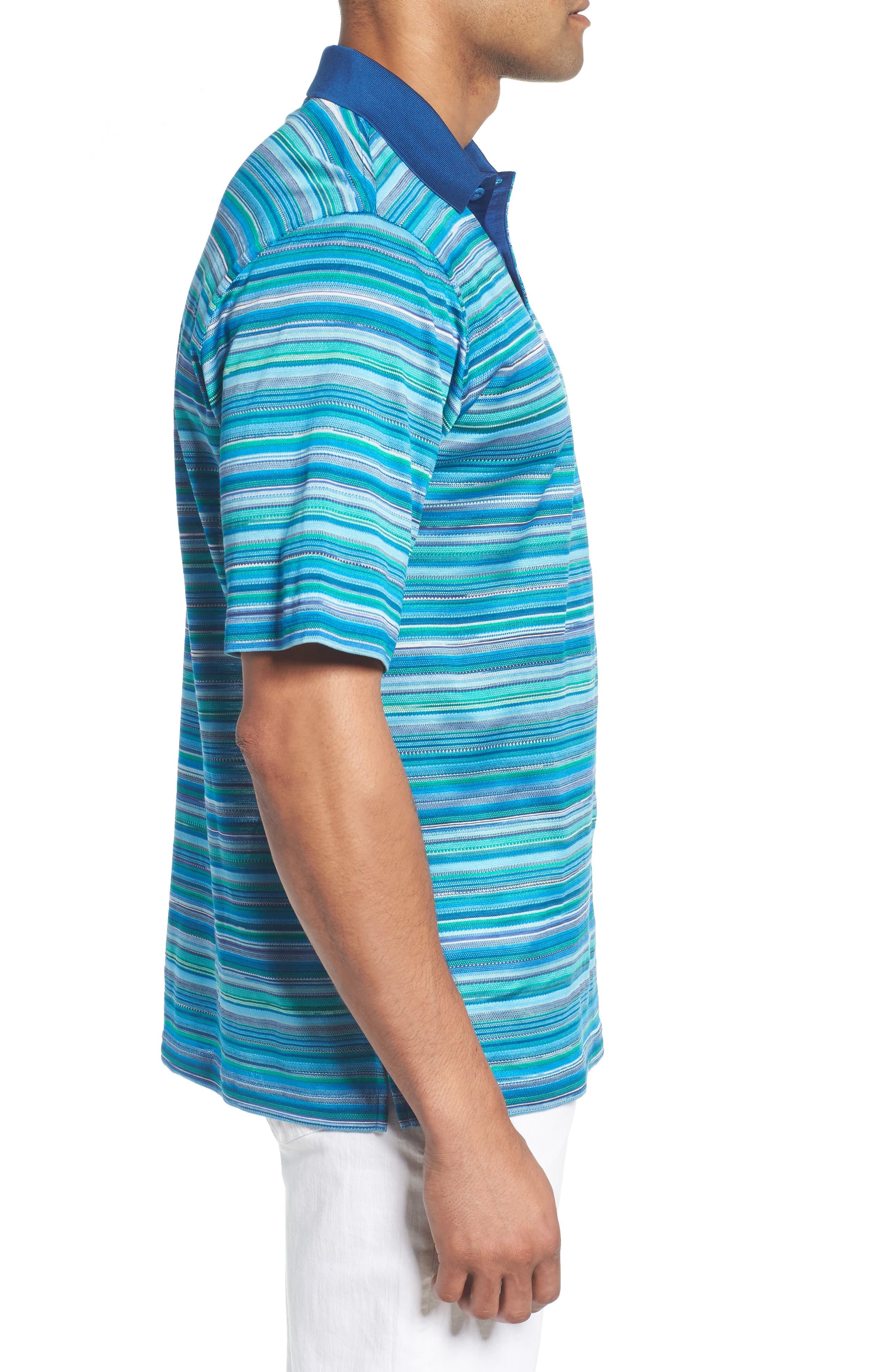 Stripe Mercerized Cotton Polo,                             Alternate thumbnail 3, color,                             Paradise