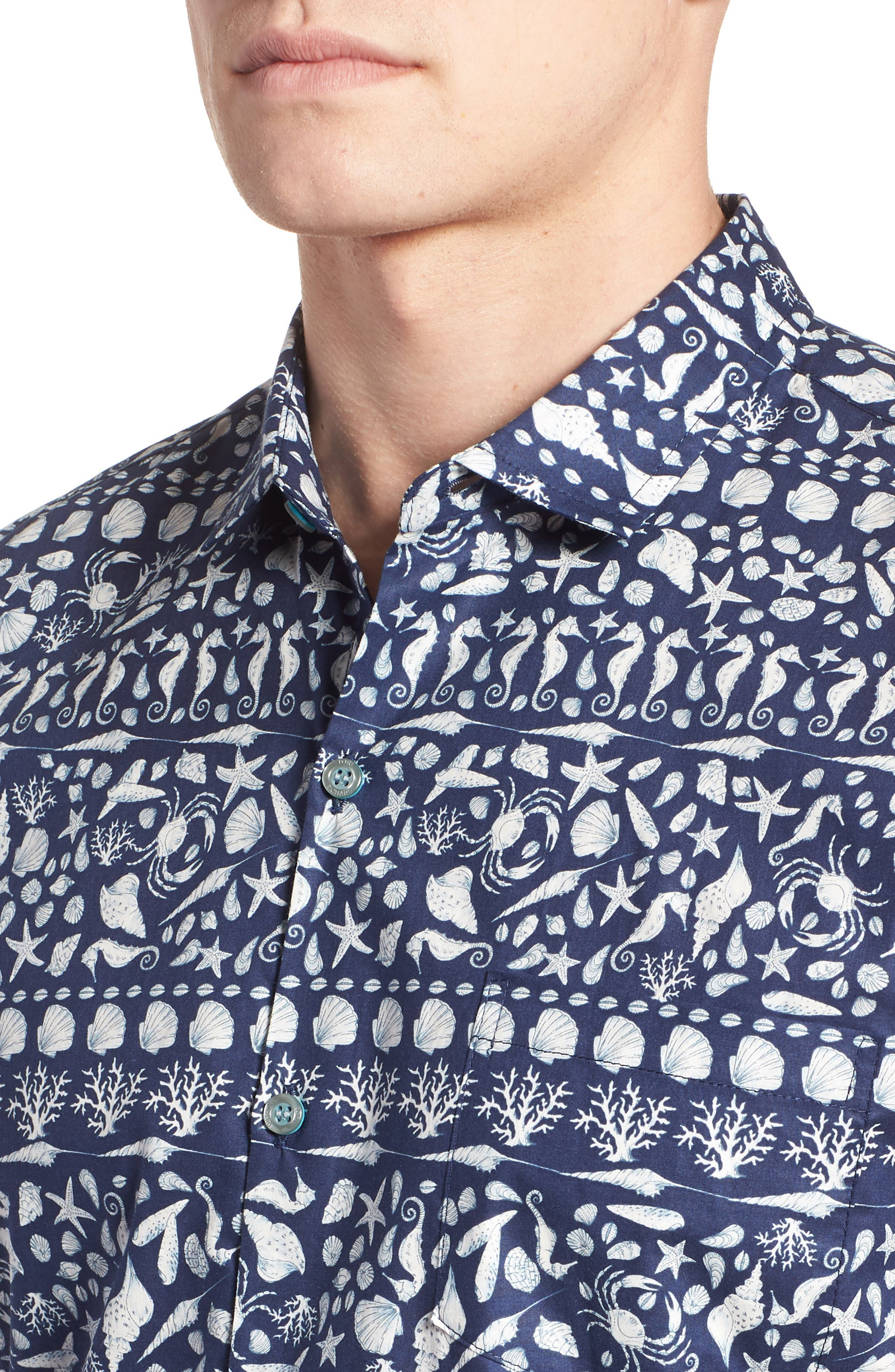 Lord Shells Trim Fit Camp Shirt,                             Alternate thumbnail 2, color,                             Navy
