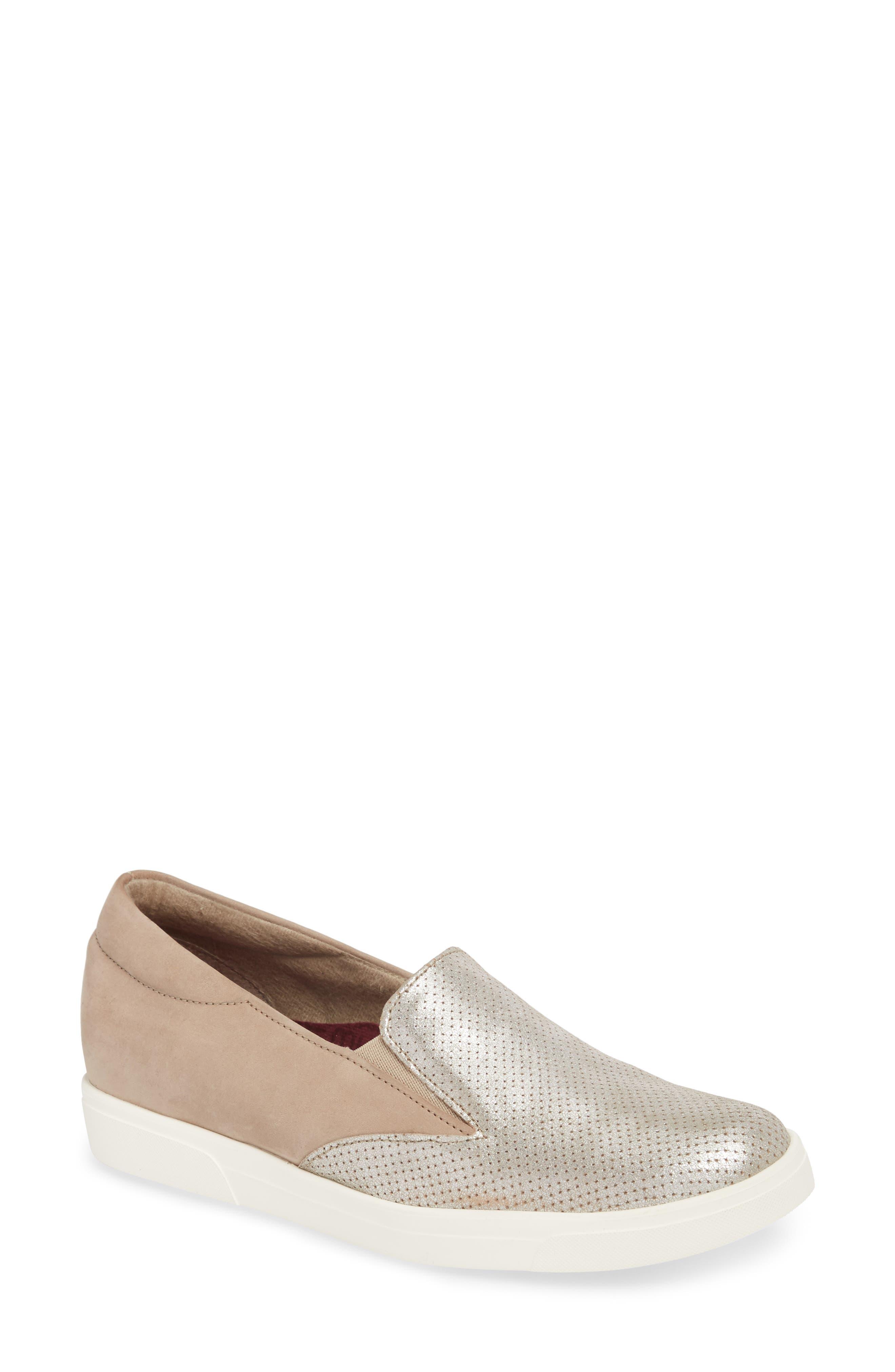 Lulu Slip-On Sneaker,                             Main thumbnail 1, color,                             Brushed Silver Nubuck