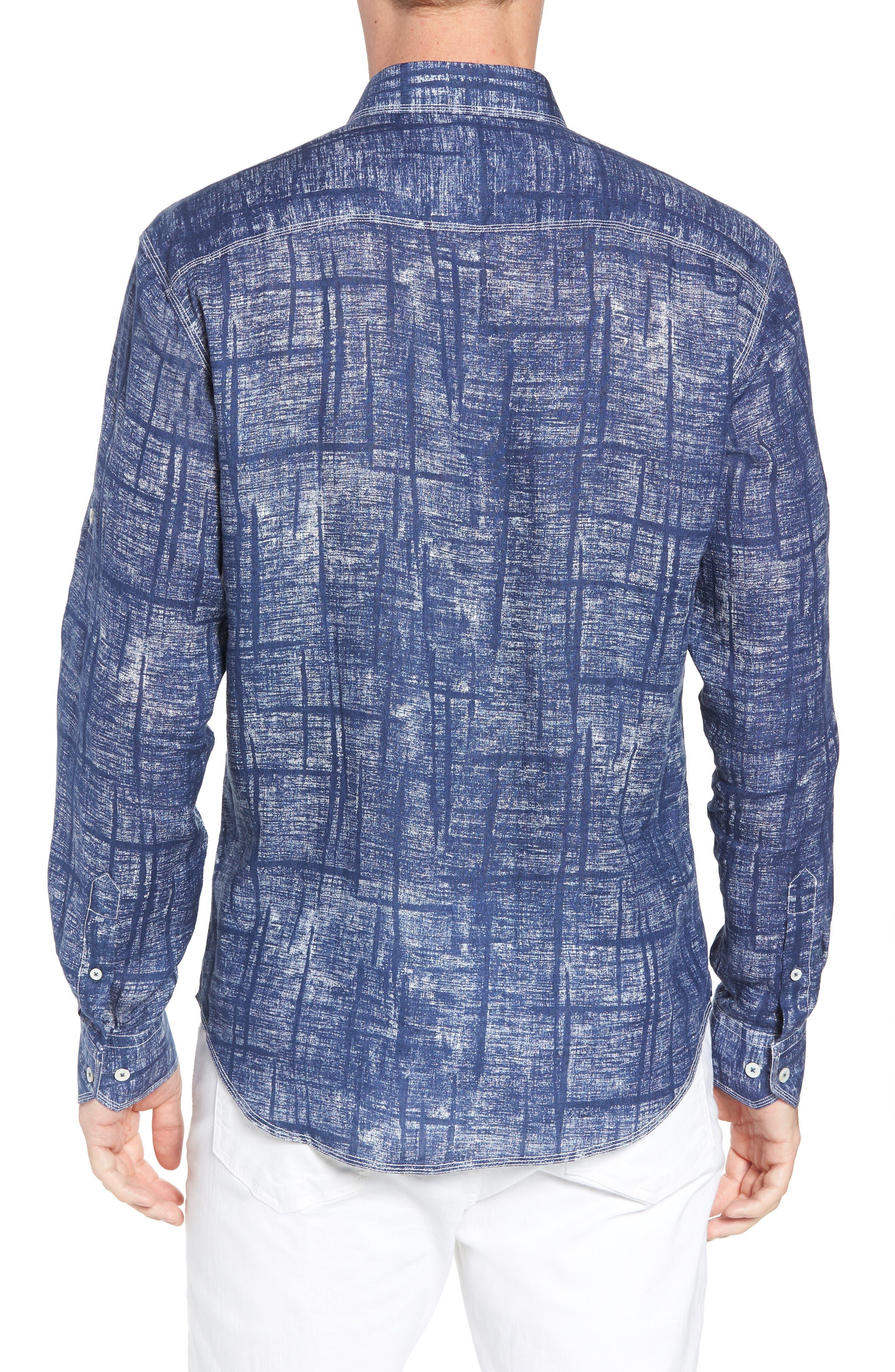 Shaped Fit Linen Sport Shirt,                             Alternate thumbnail 3, color,                             Navy
