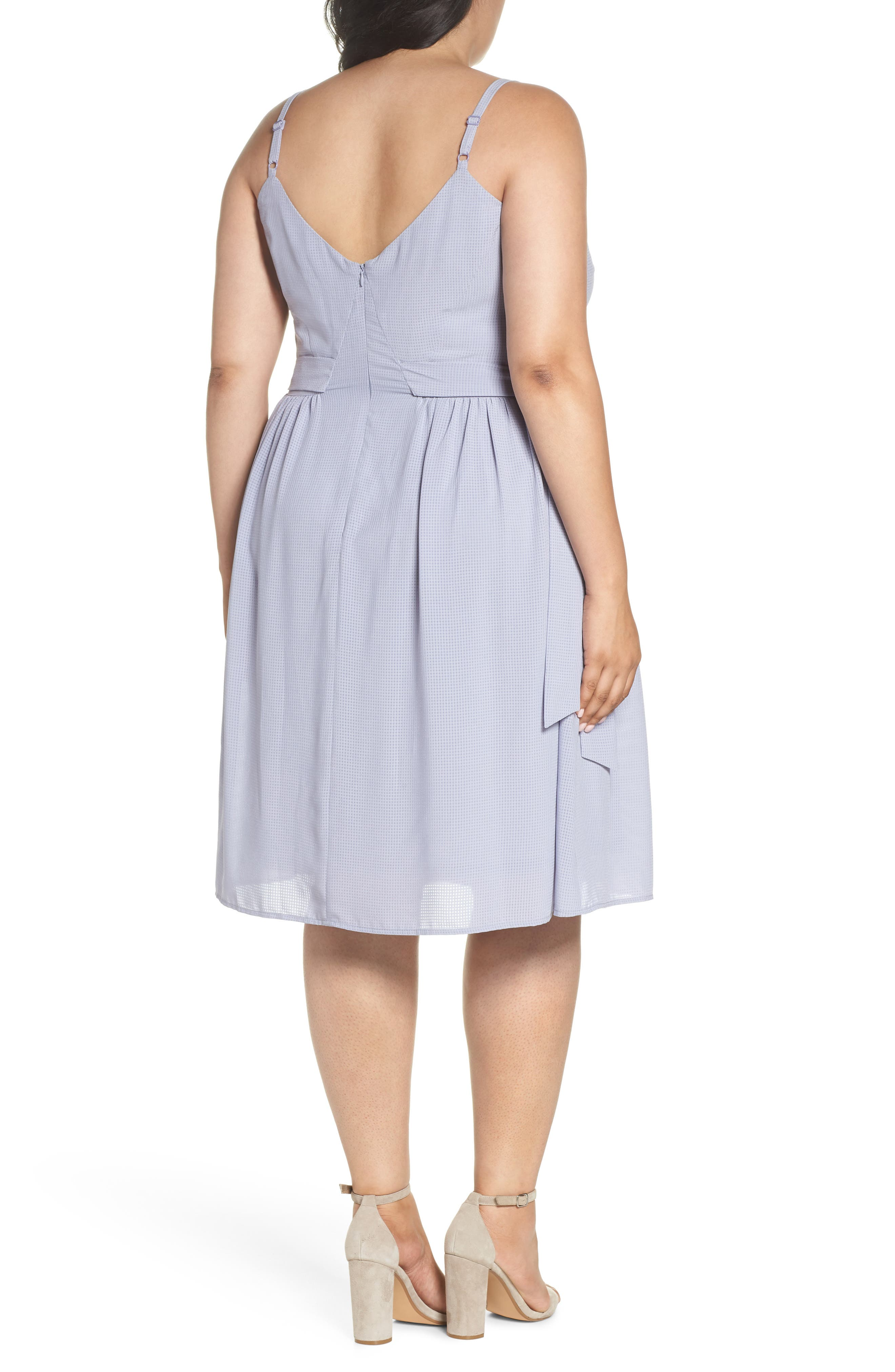 Side Tie Gathered Dress,                             Alternate thumbnail 2, color,                             Grey