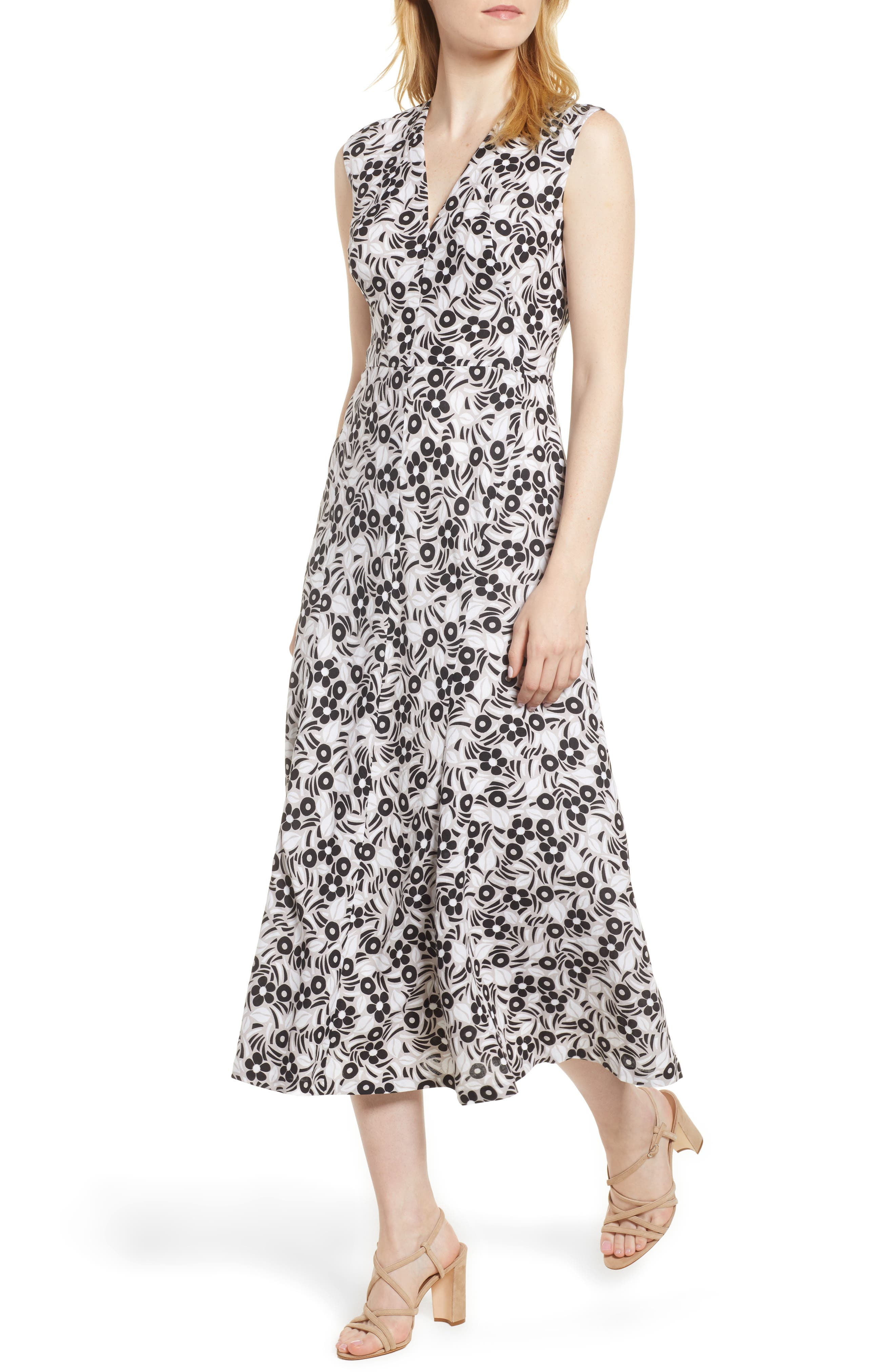 Anne Klein Pieced Floral Midi Dress