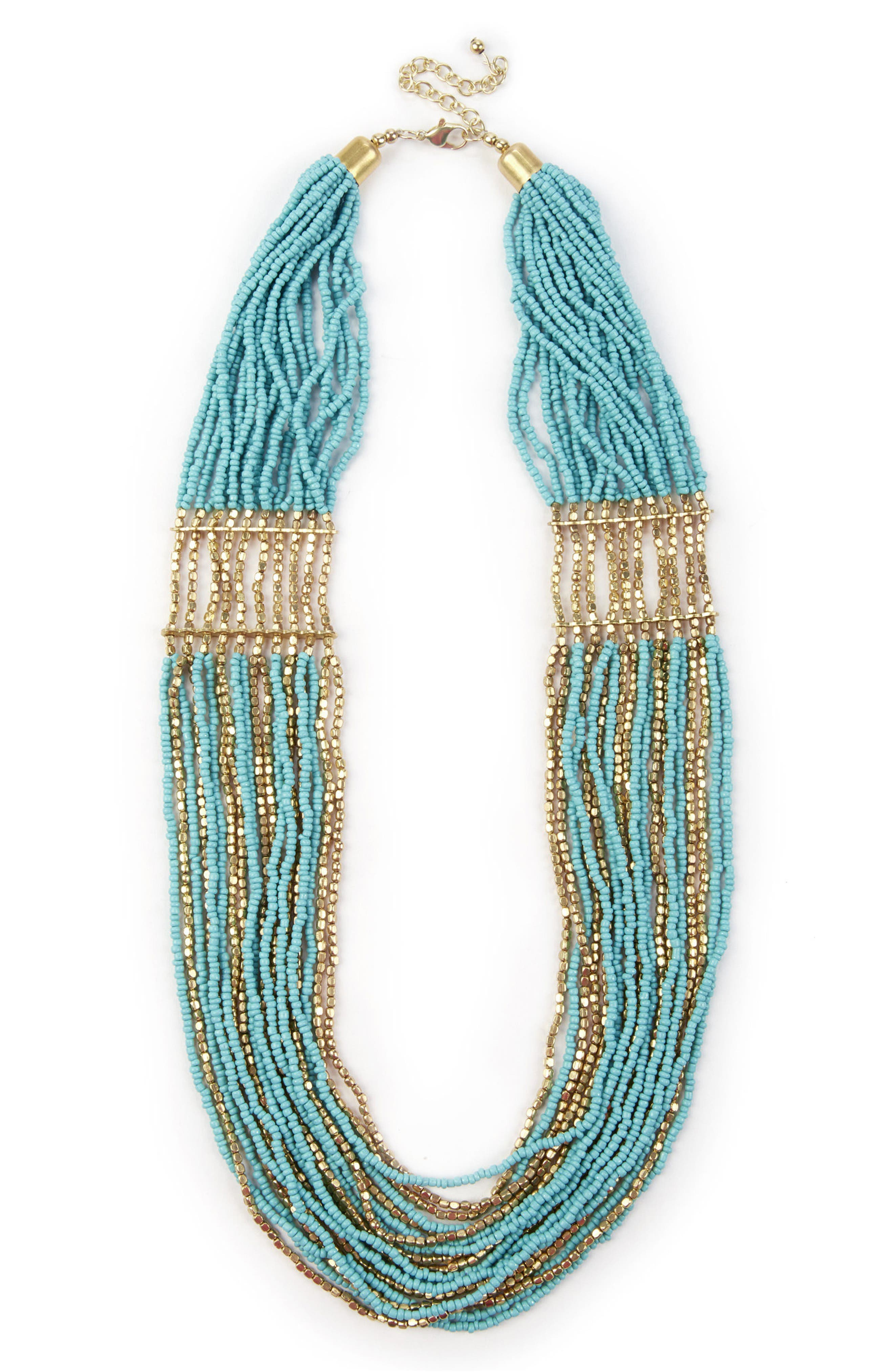 Multistrand Beaded Necklace,                             Main thumbnail 1, color,                             Teal Combo