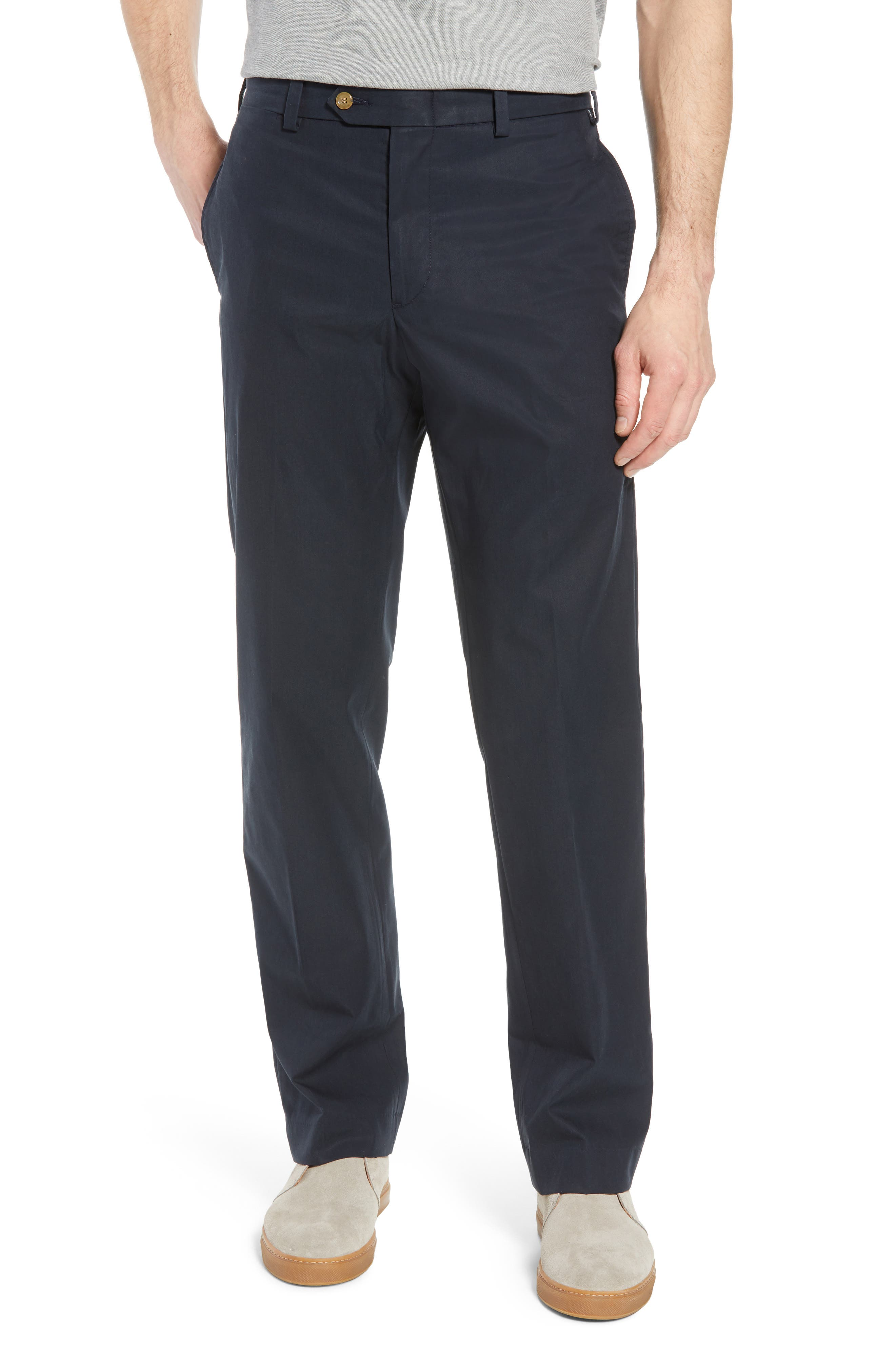 M2 Classic Fit Flat Front Travel Twill Pants,                         Main,                         color, Navy
