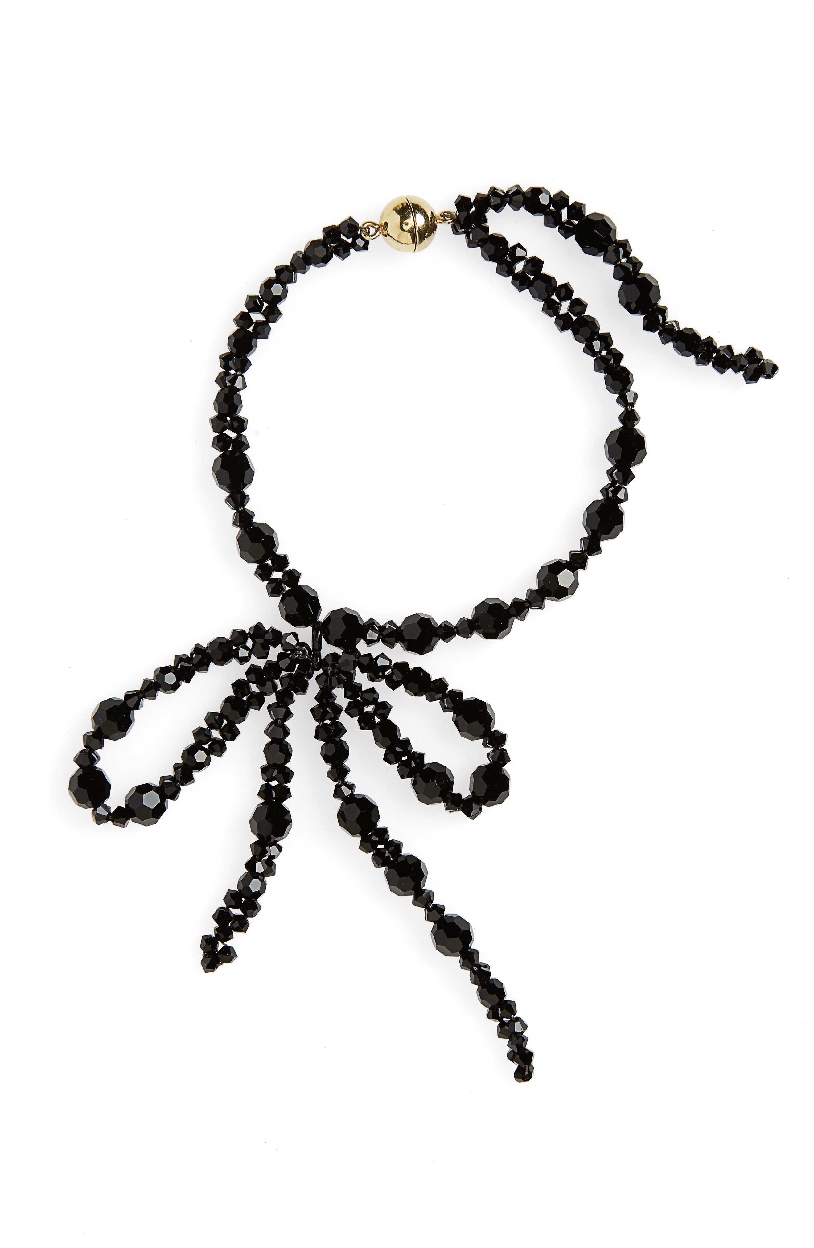 Beaded Bow Bracelet,                             Main thumbnail 1, color,                             Jet
