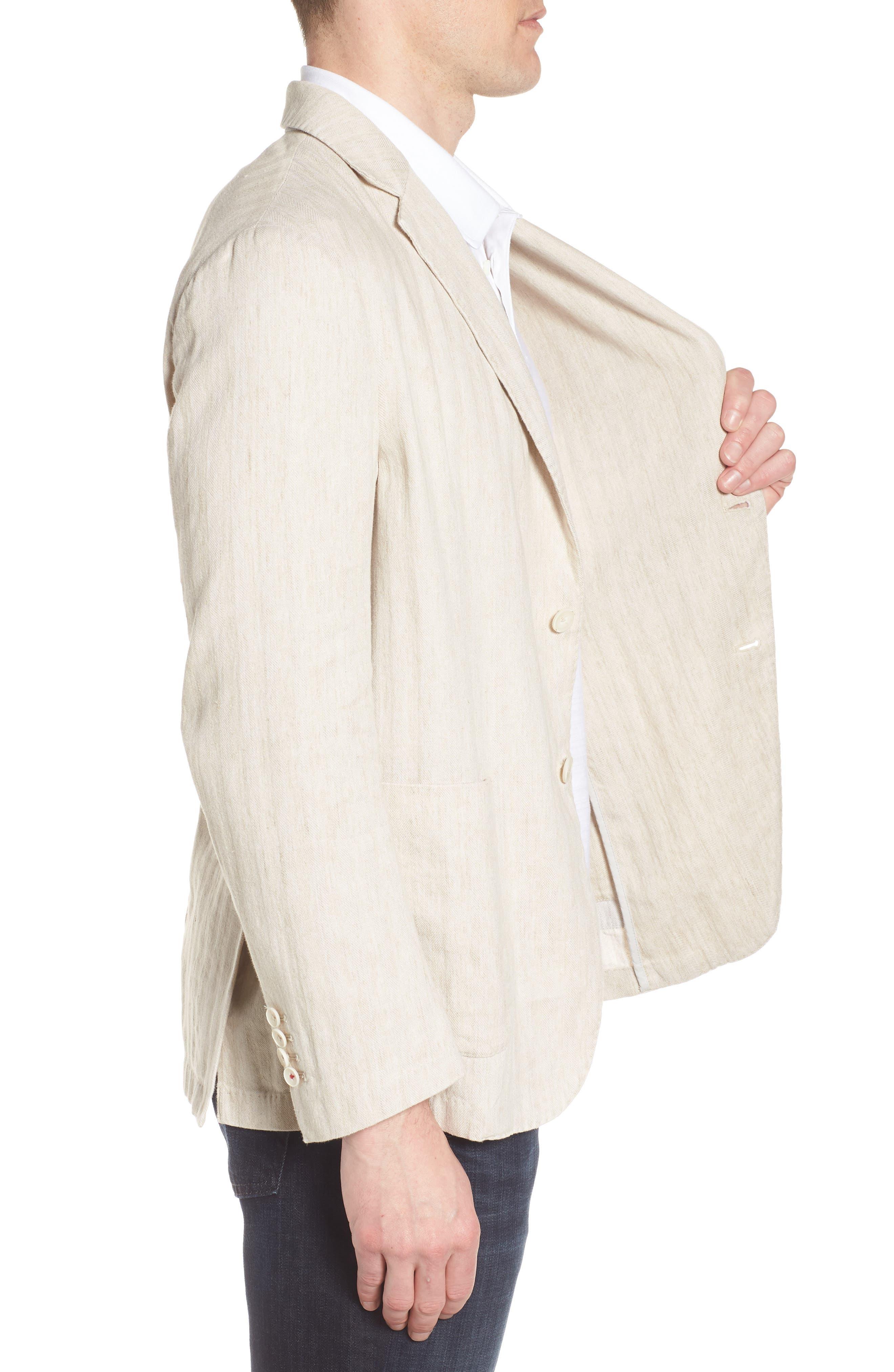Alternate Image 3  - Bugatchi Regular Fit Herringbone Cotton & Linen Blazer