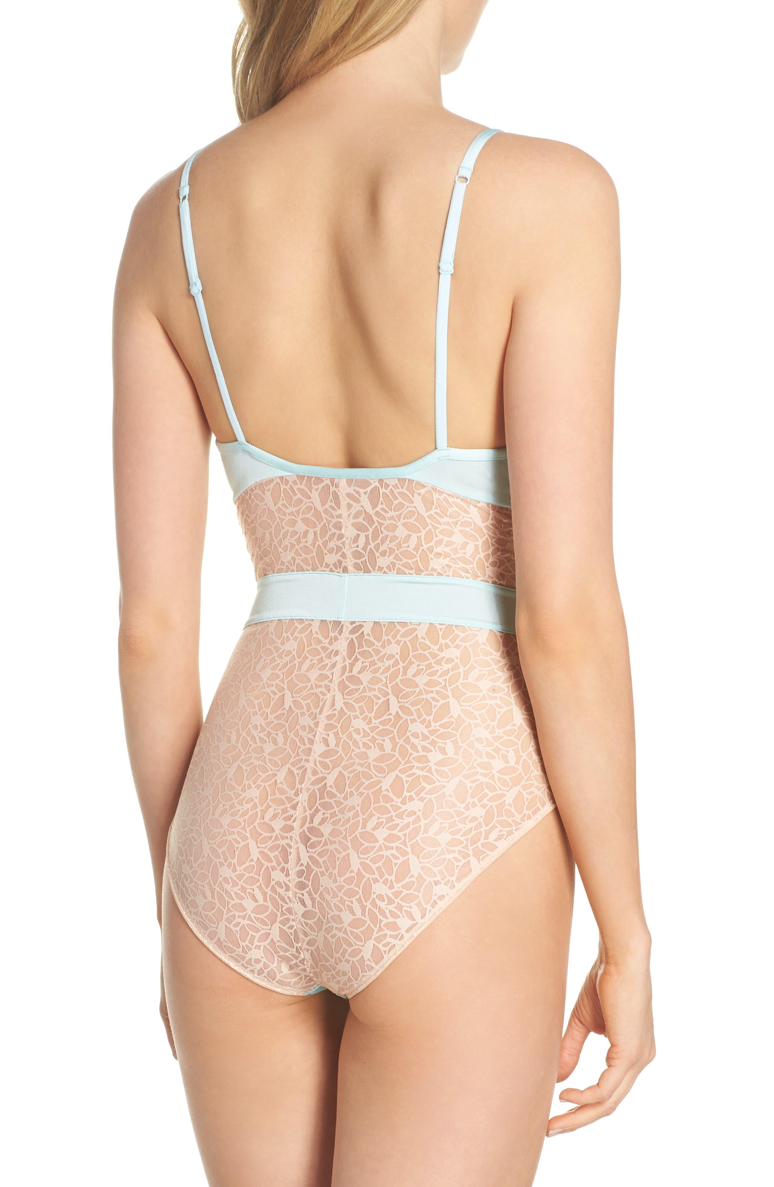 Satin Lace Bodysuit,                             Alternate thumbnail 2, color,                             Blue Plume/ Pink Dust
