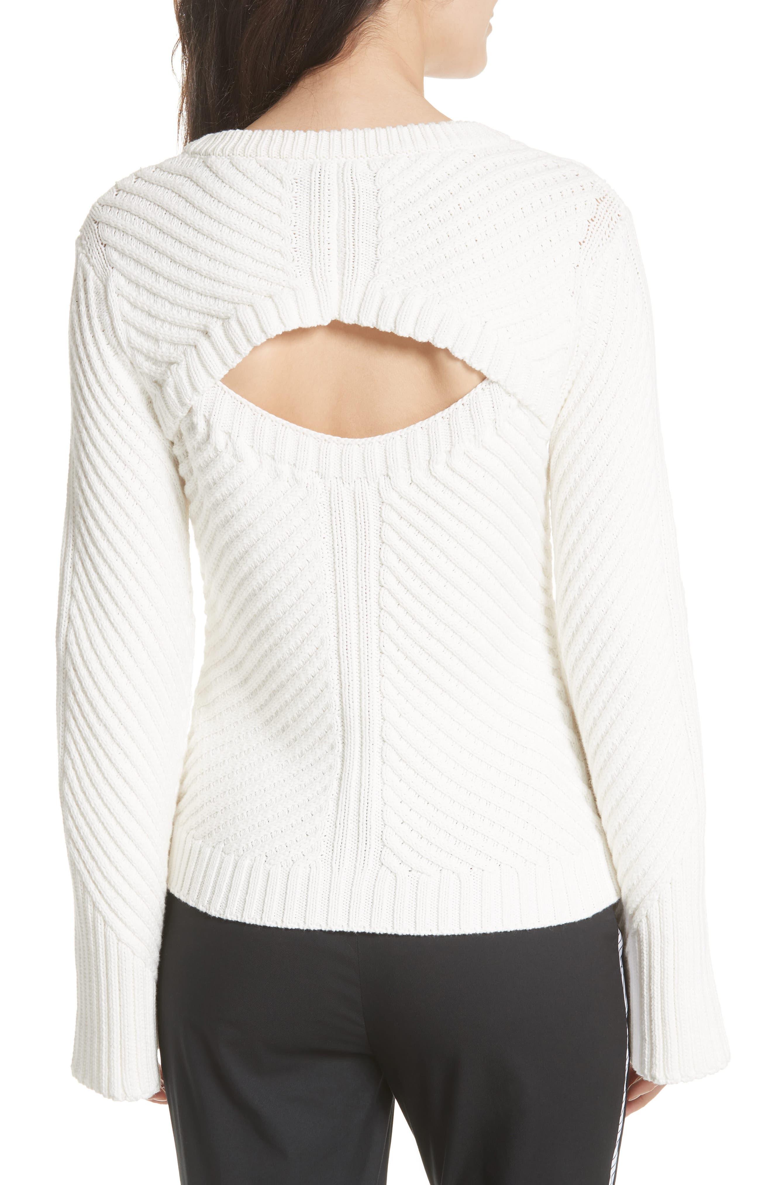 Lauraly Cutout Back Sweater,                             Alternate thumbnail 2, color,                             Porcelain