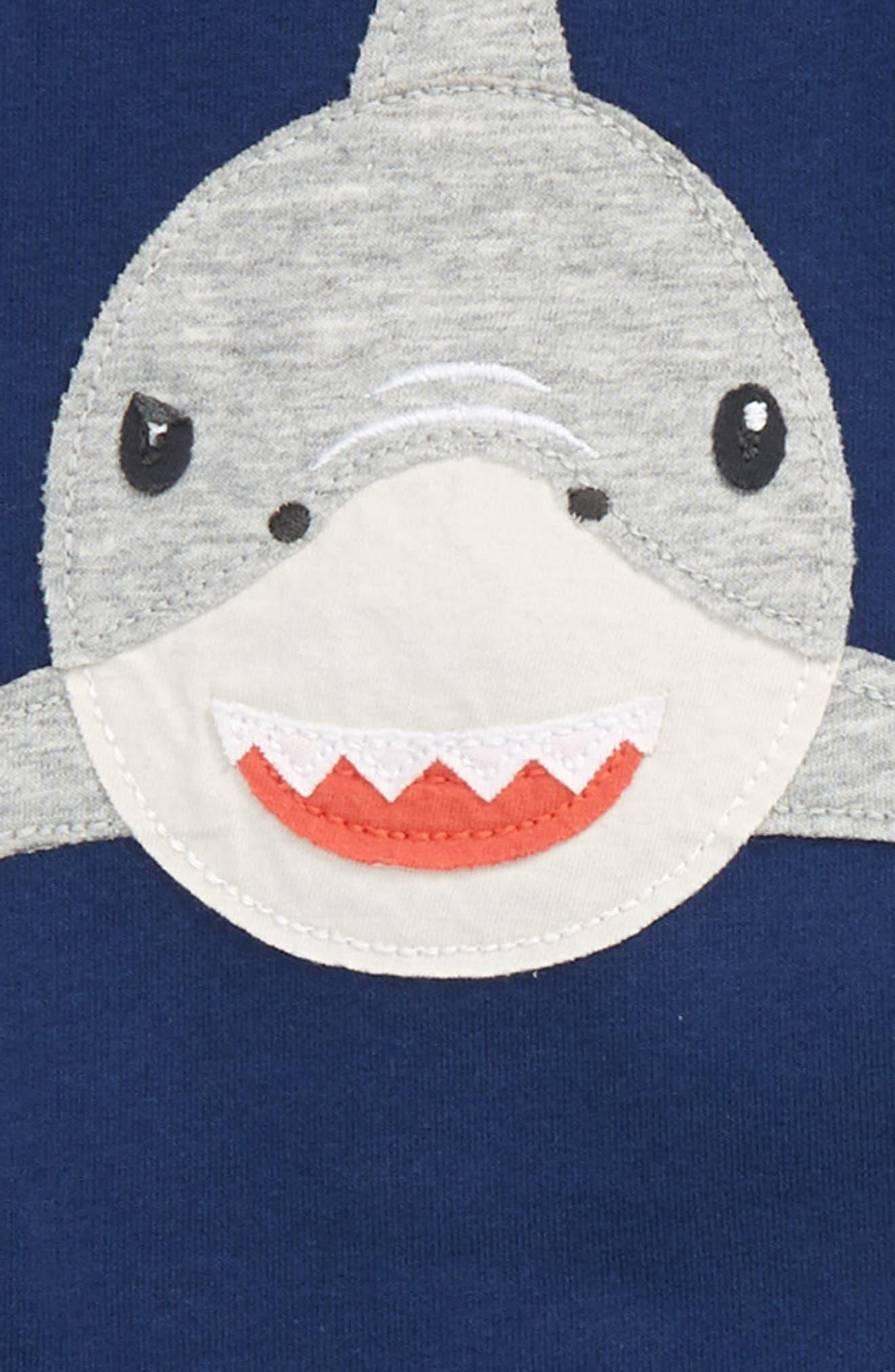 Fun Shark Appliqué Jersey Shirt & Pants Set,                             Alternate thumbnail 2, color,                             Beacon Blue Shark