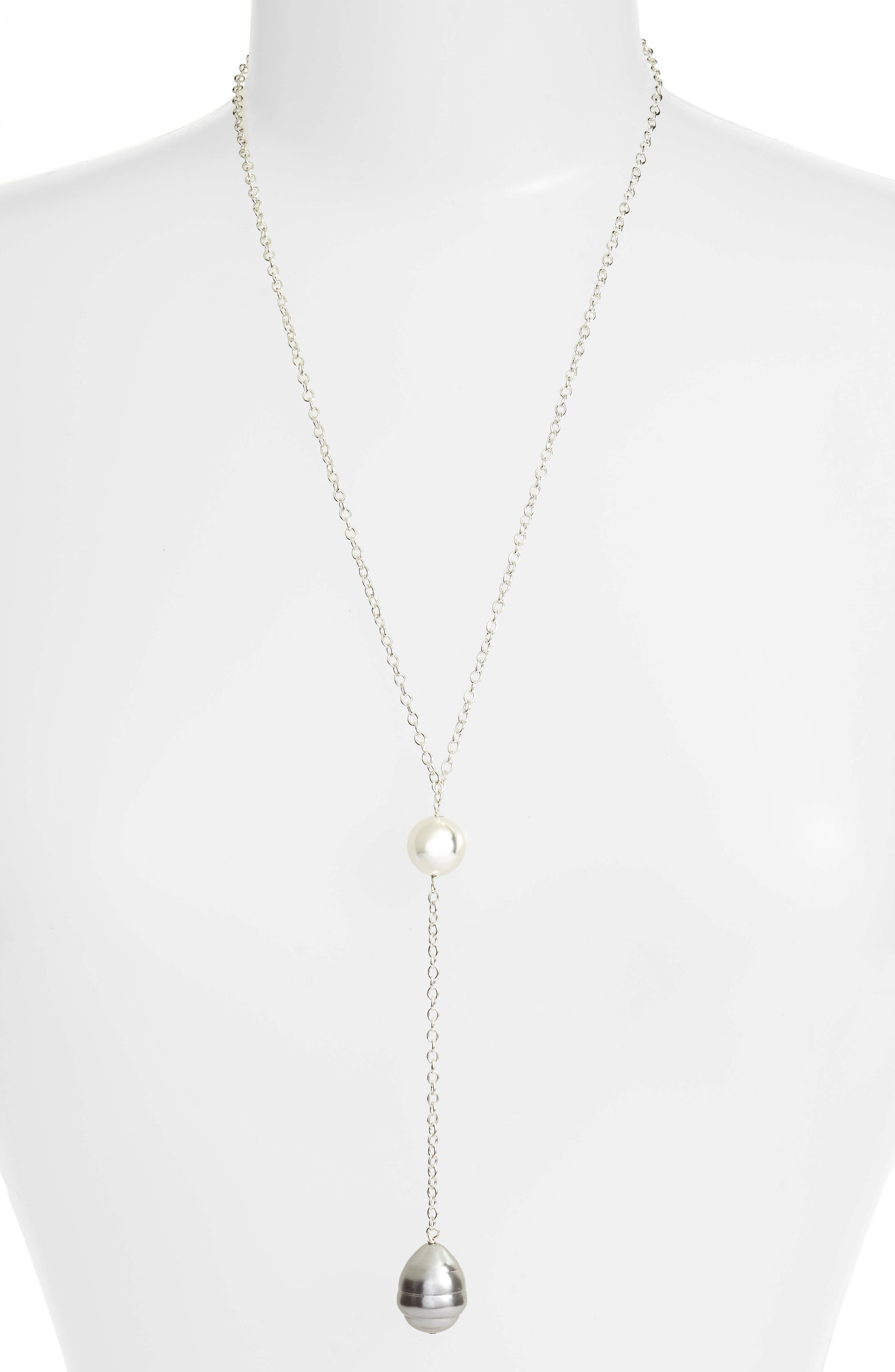 Shell Pendant Long Chain Y-Necklace,                             Main thumbnail 1, color,                             Silver