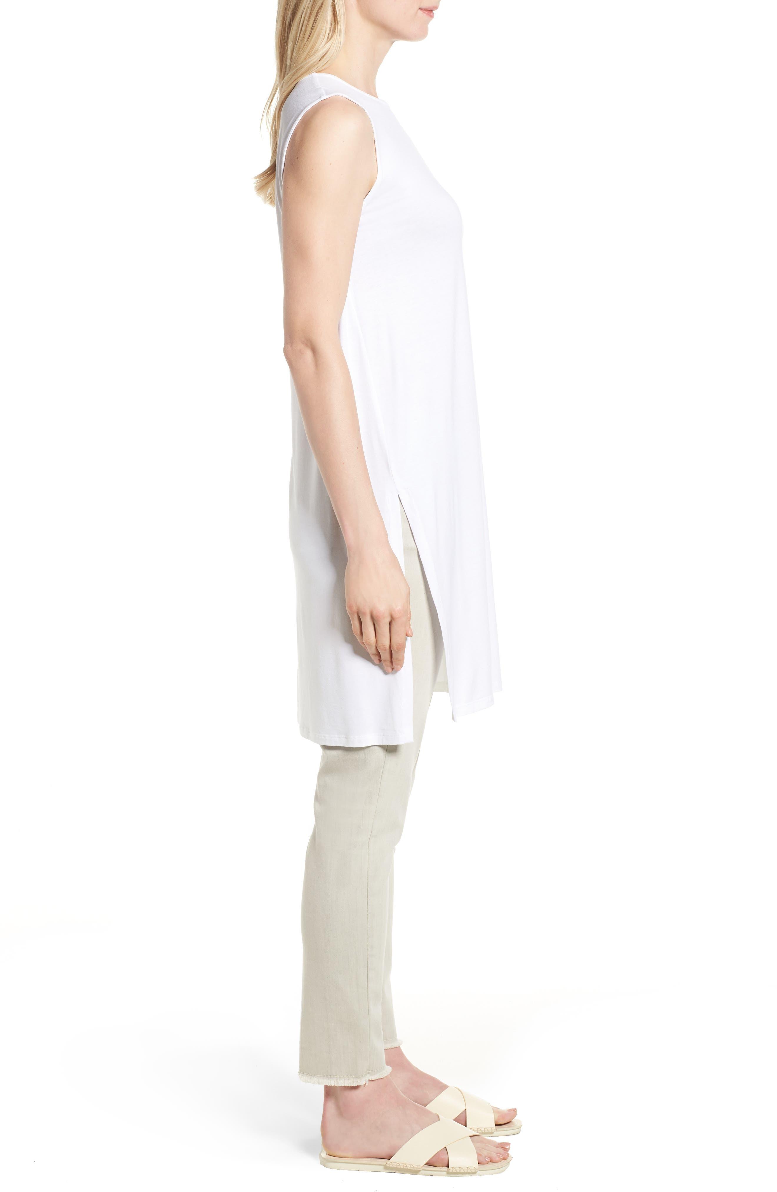 Long Jersey Tunic,                             Alternate thumbnail 3, color,                             White