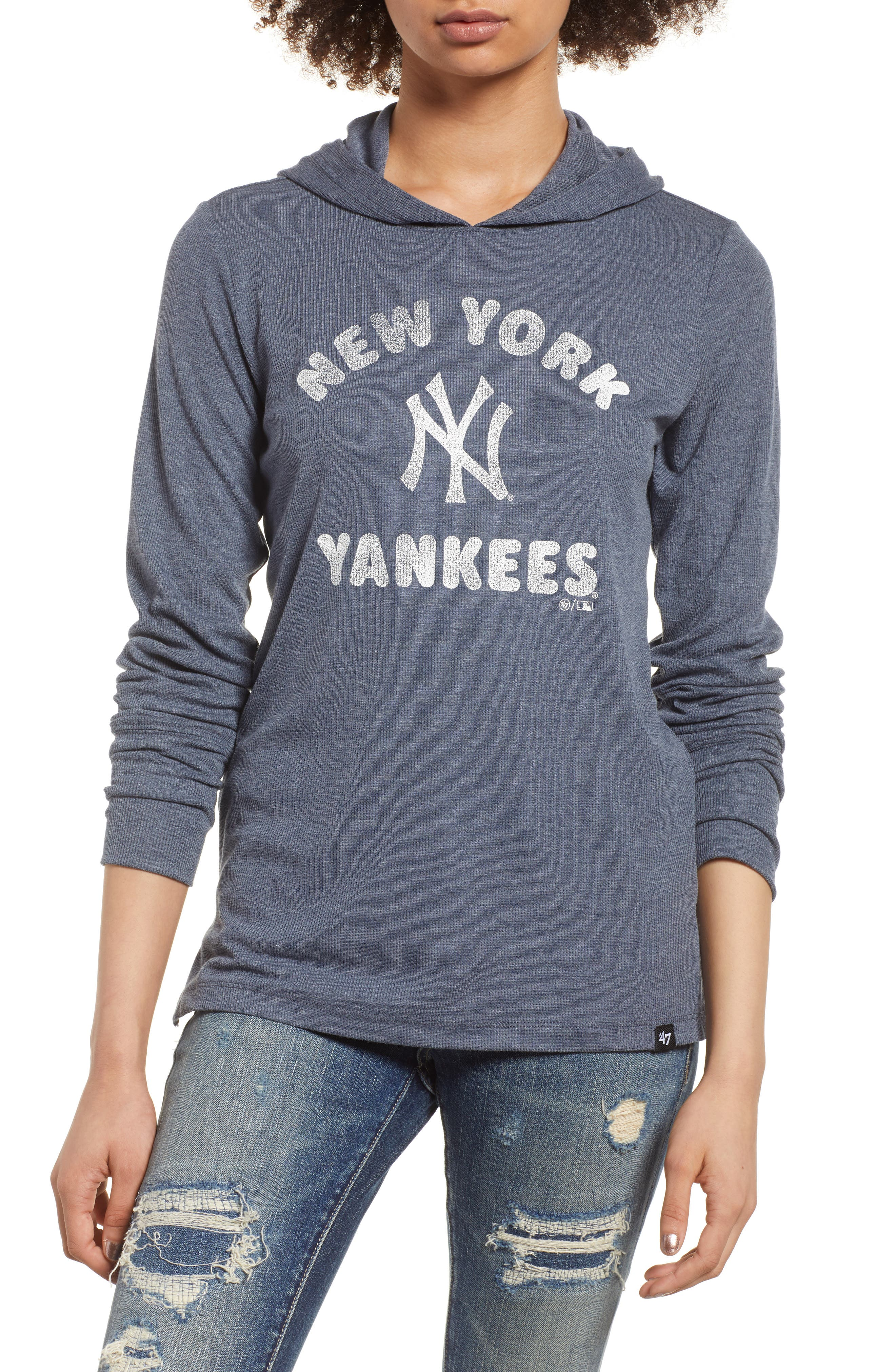Campbell New York Yankees Rib Knit Hooded Top,                         Main,                         color, Midnight