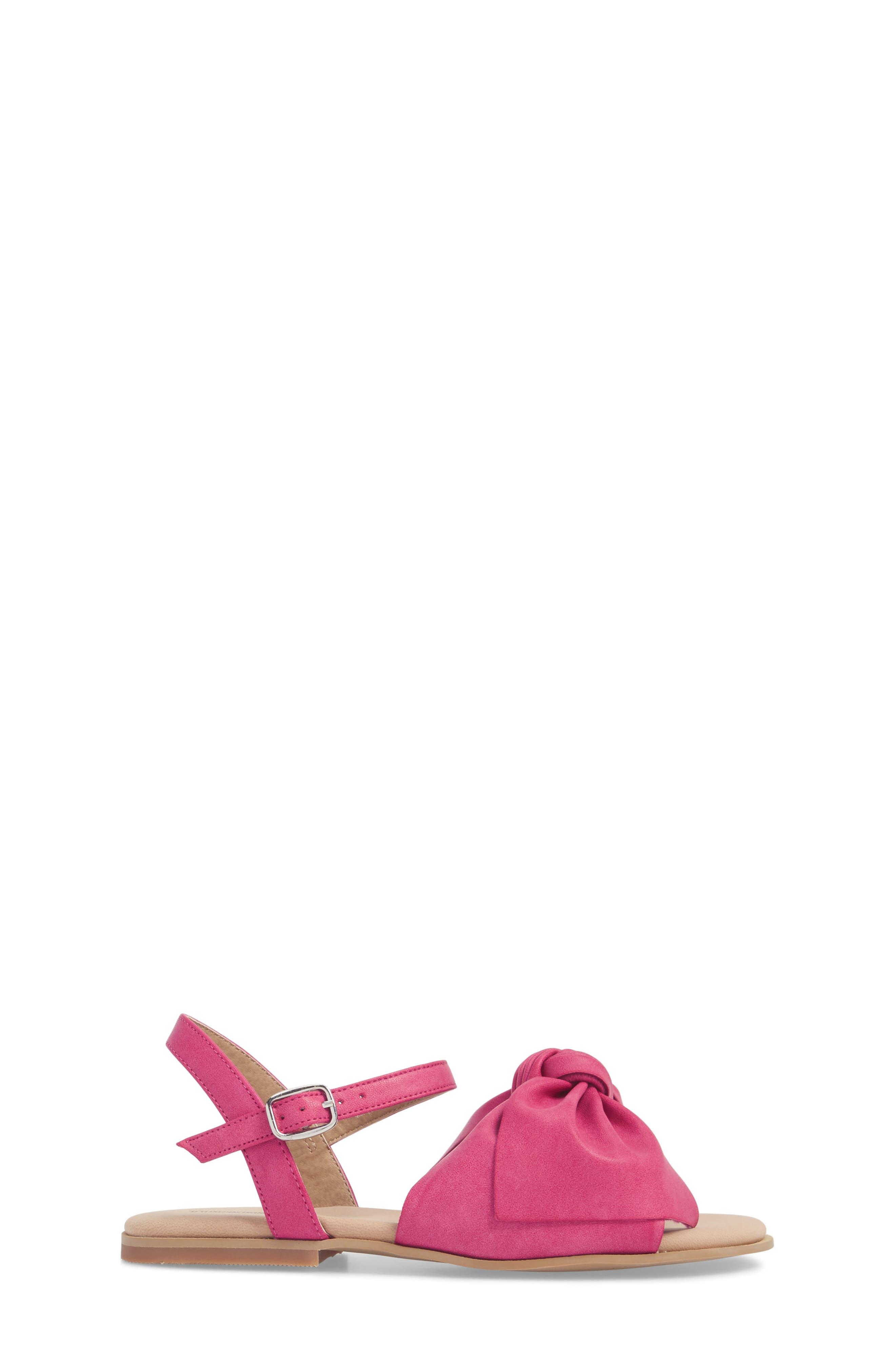 Larissa Knotted Sandal,                             Alternate thumbnail 3, color,                             Fuschia Faux Leather