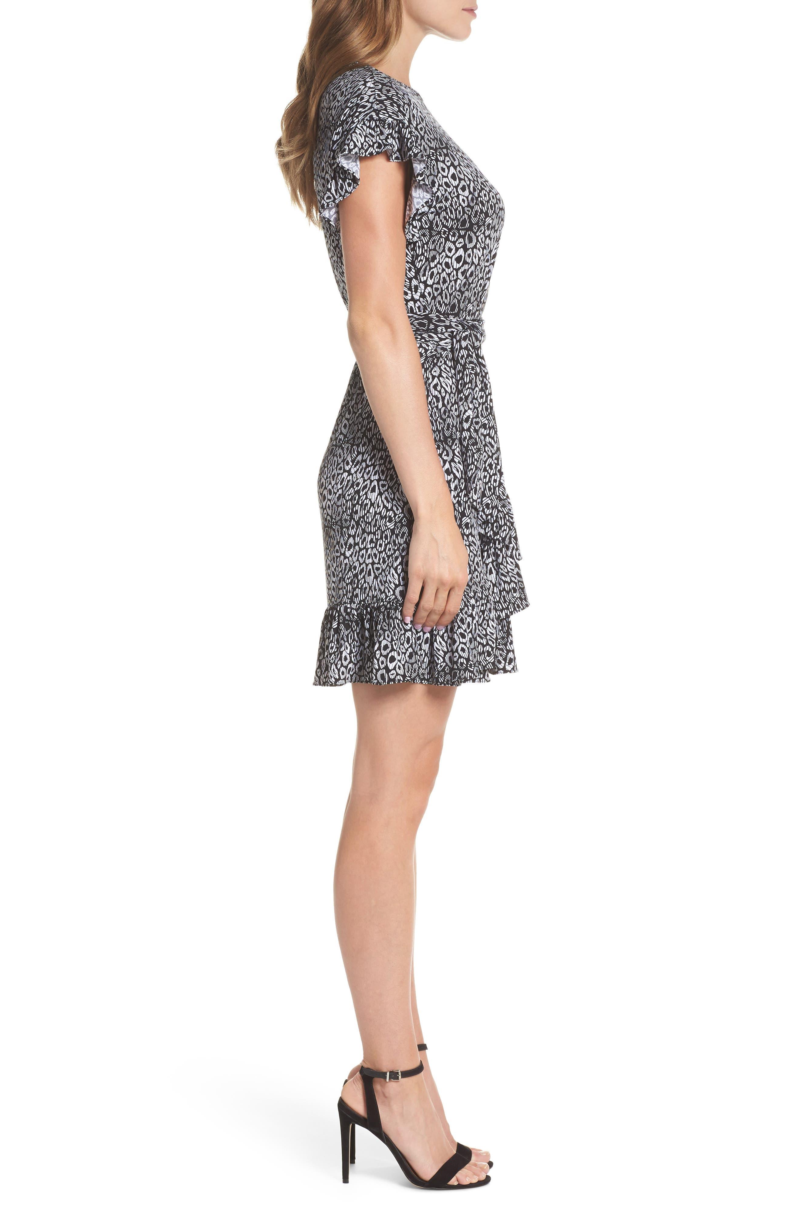 Wavy Leopard Print Ruffle Dress,                             Alternate thumbnail 3, color,                             Black/ White