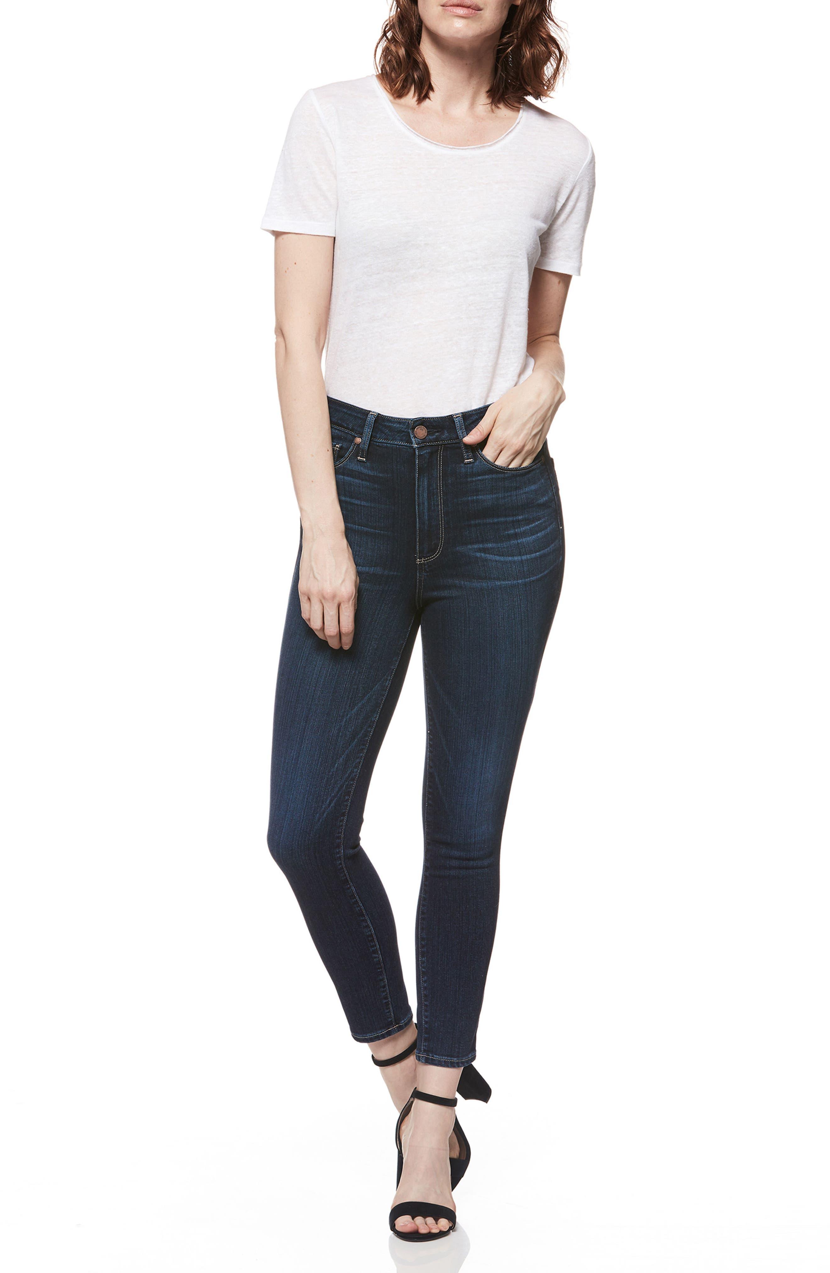 Transcend - Margot High Waist Crop Skinny Jeans,                             Alternate thumbnail 3, color,                             Sawtelle