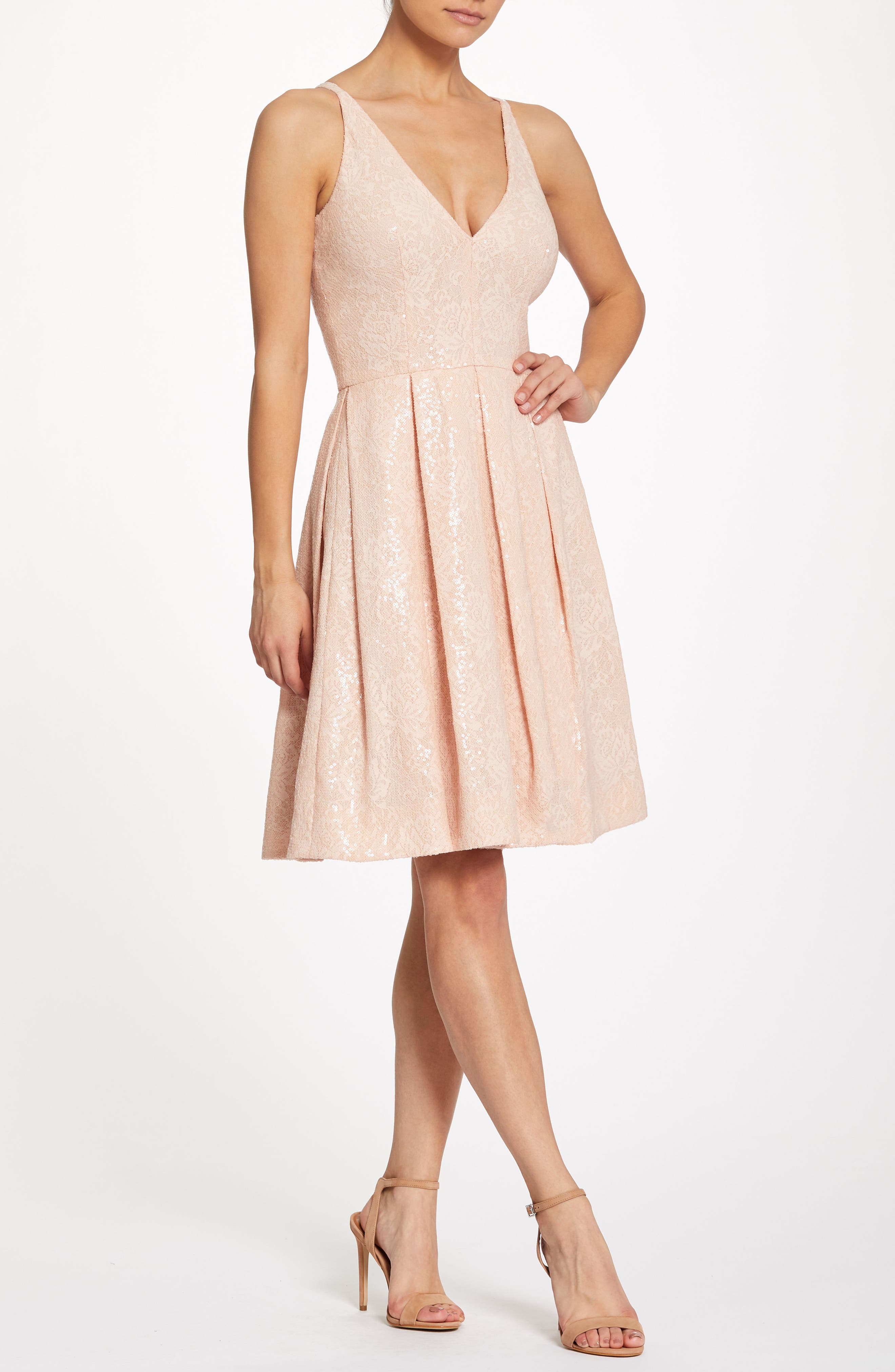 Collette Sequin Fit & Flare Dress,                             Alternate thumbnail 2, color,                             Pink/ Nude