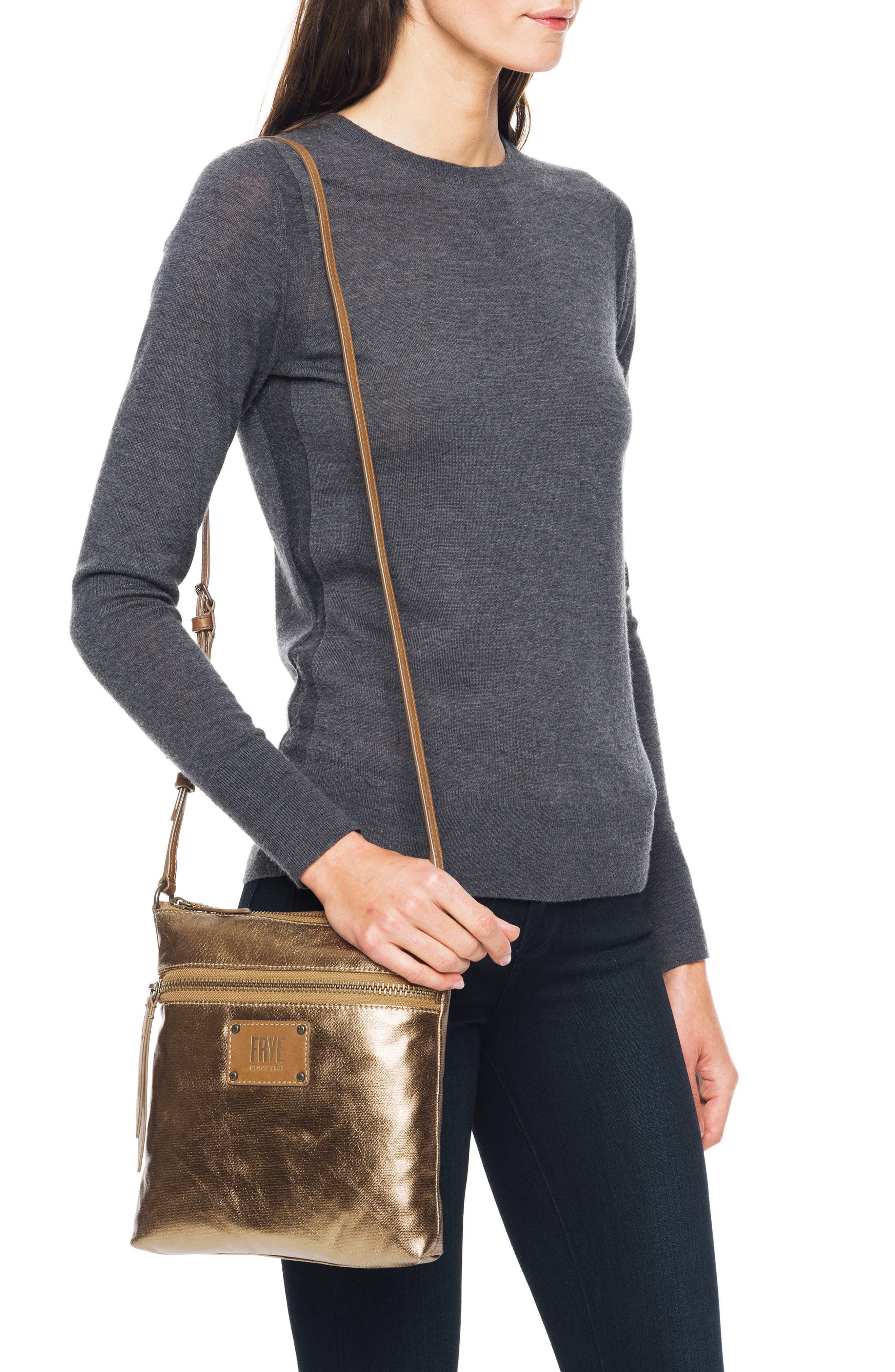 Ivy Metallic Nylon Crossbody Bag,                             Alternate thumbnail 2, color,                             Bronze