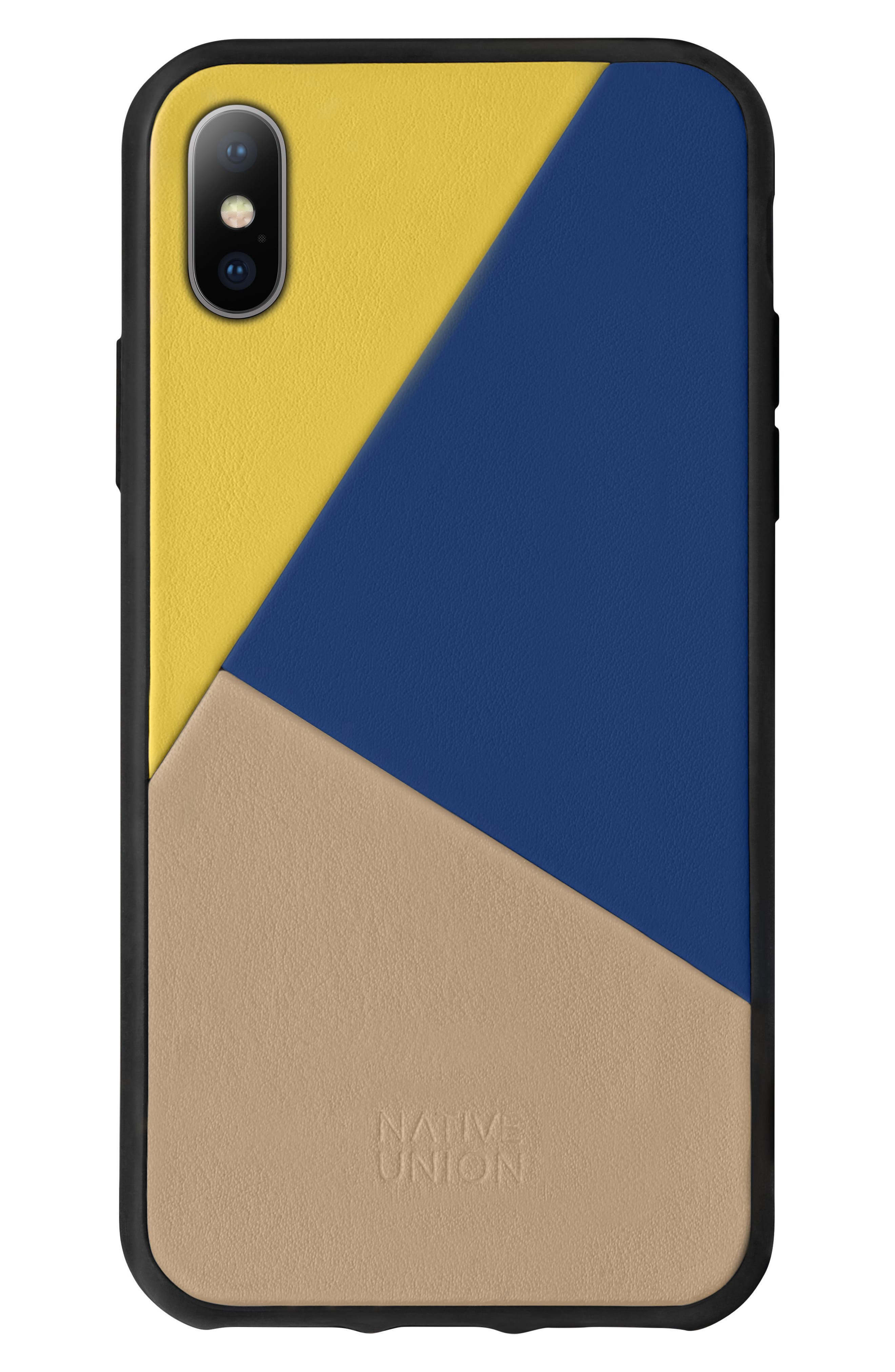 CLIC Leather iPhone X Case,                             Main thumbnail 1, color,                             Canary Multicolor