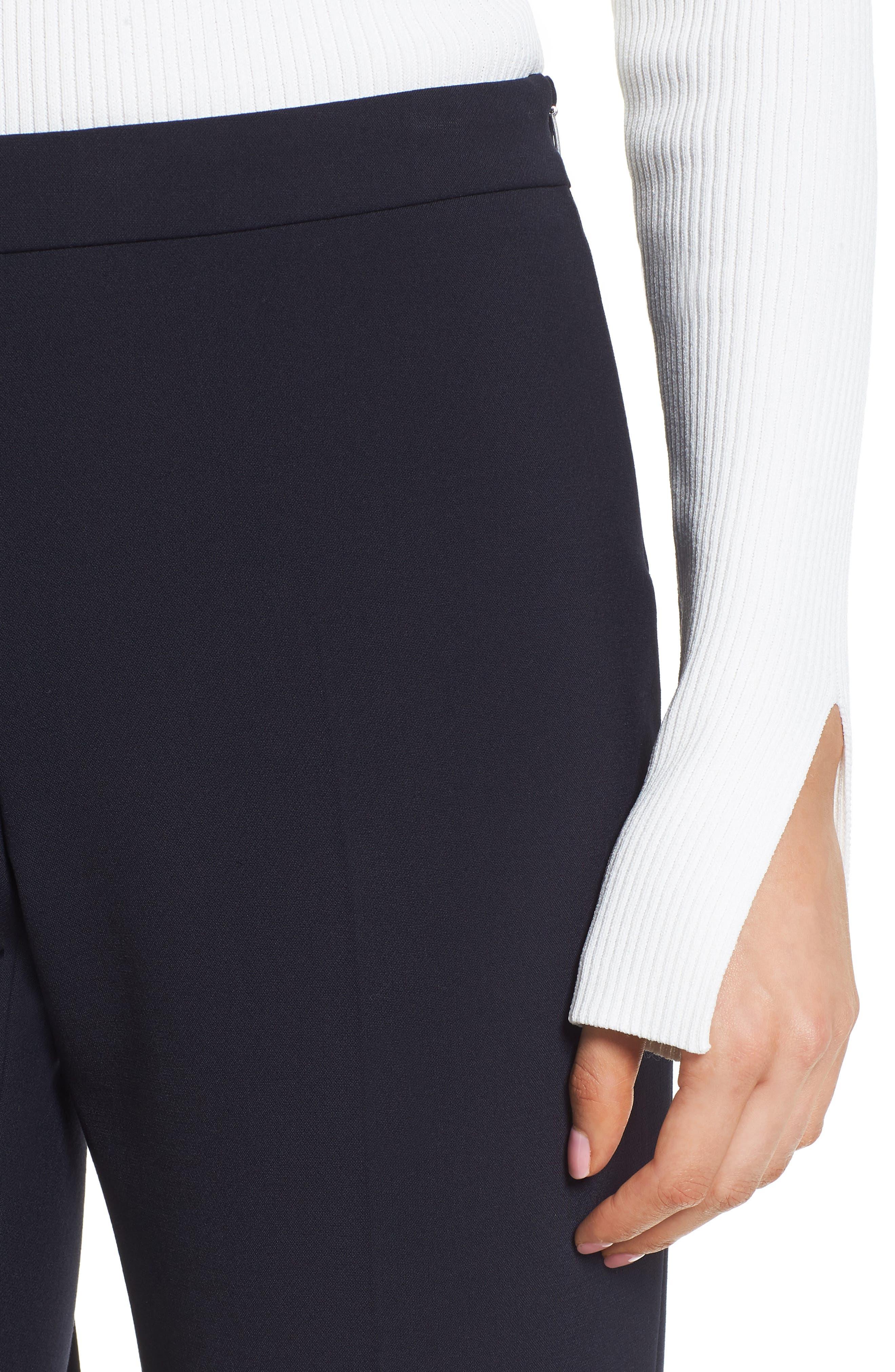 Tiluna Side Zip Ponte Trousers,                             Alternate thumbnail 4, color,                             Navy