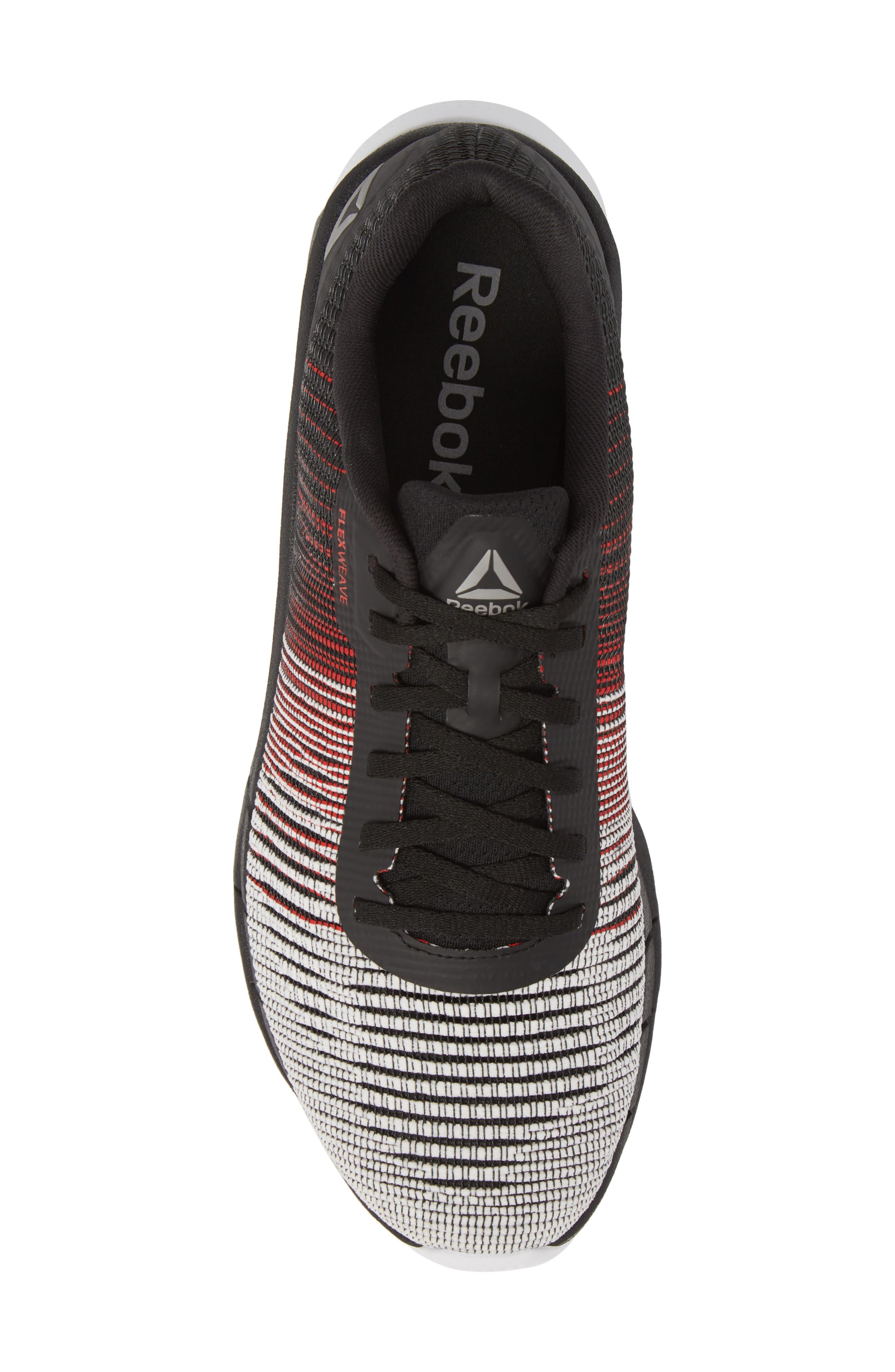 Fast Flexweave<sup>™</sup> Running Shoe,                             Alternate thumbnail 5, color,                             White/ Primal Red/ Black