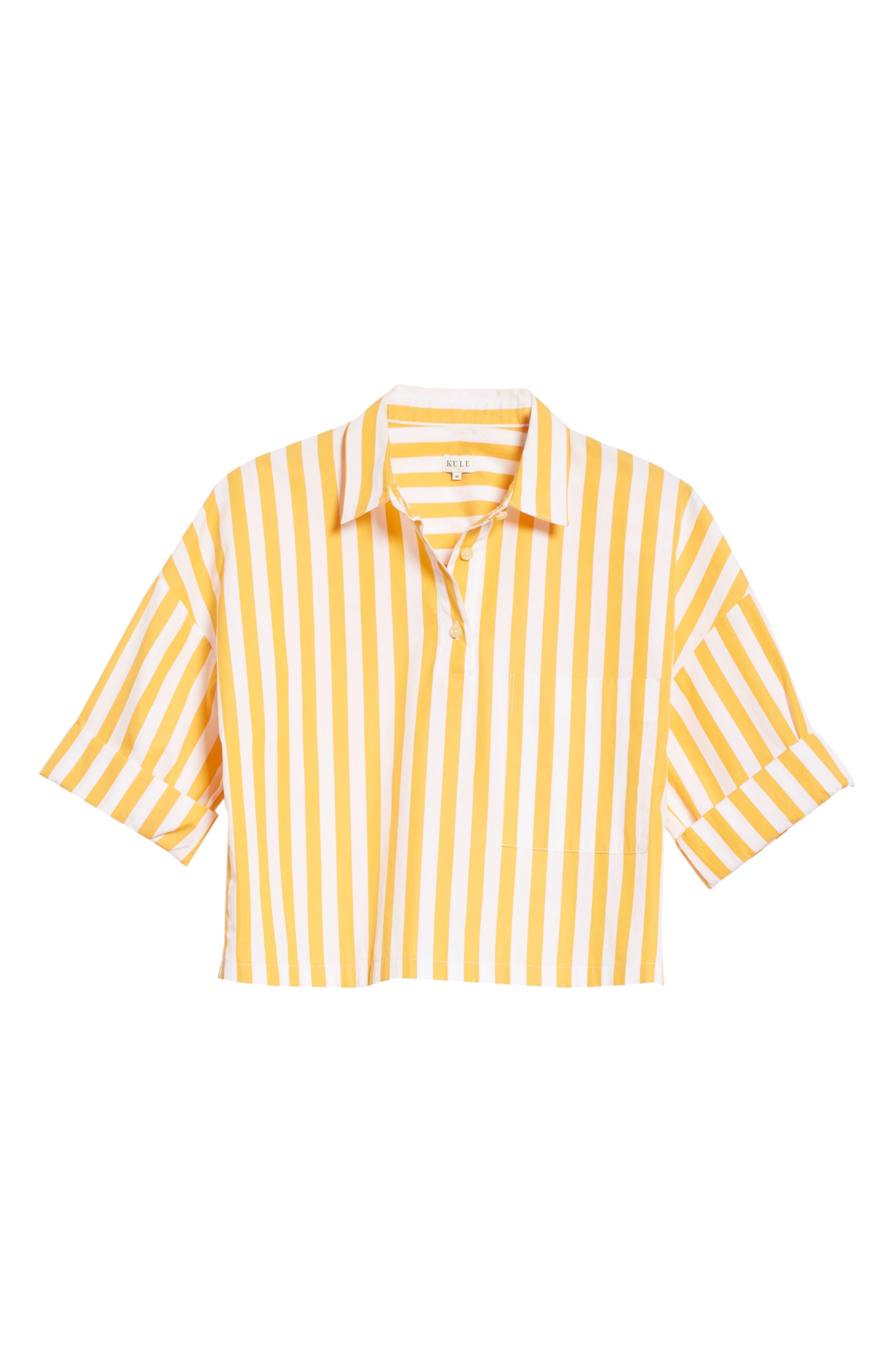 The Keaton Stripe Crop Shirt,                             Alternate thumbnail 6, color,                             White/ Marigold