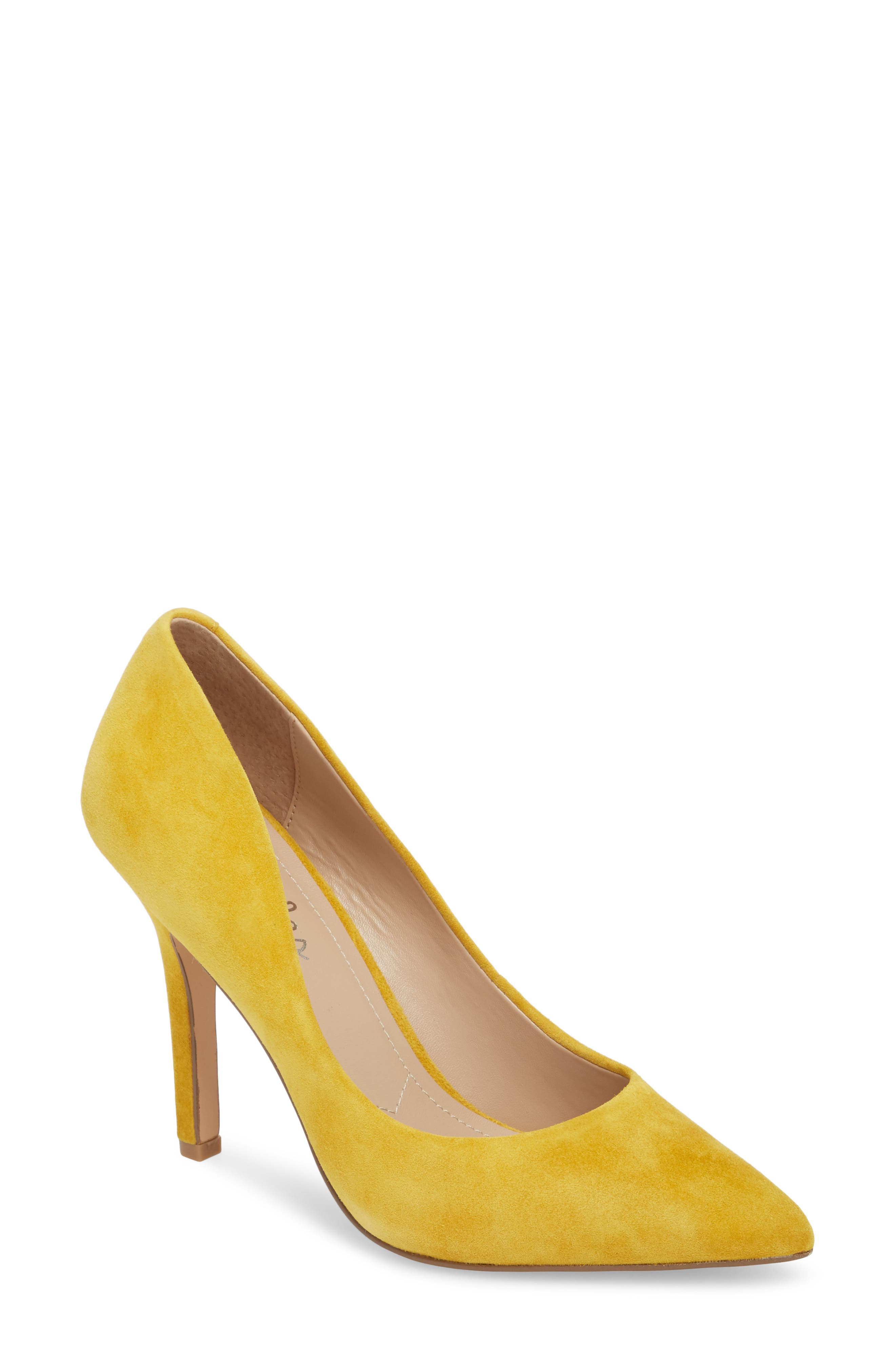 Maxx Pointy Toe Pump,                         Main,                         color, Canary Suede