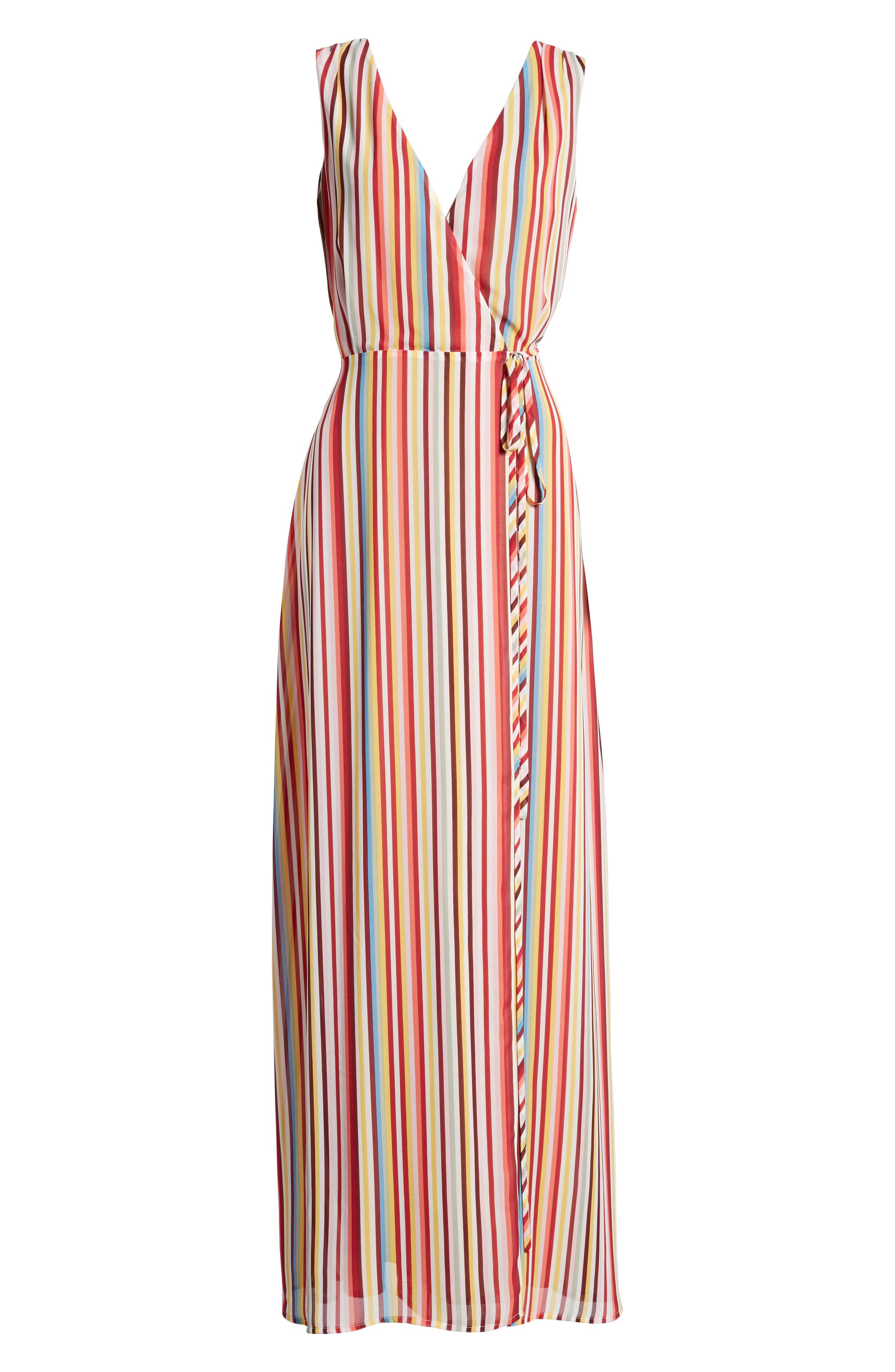 Bobby Wrap Maxi Dress,                             Alternate thumbnail 7, color,                             Red Multi Stripe
