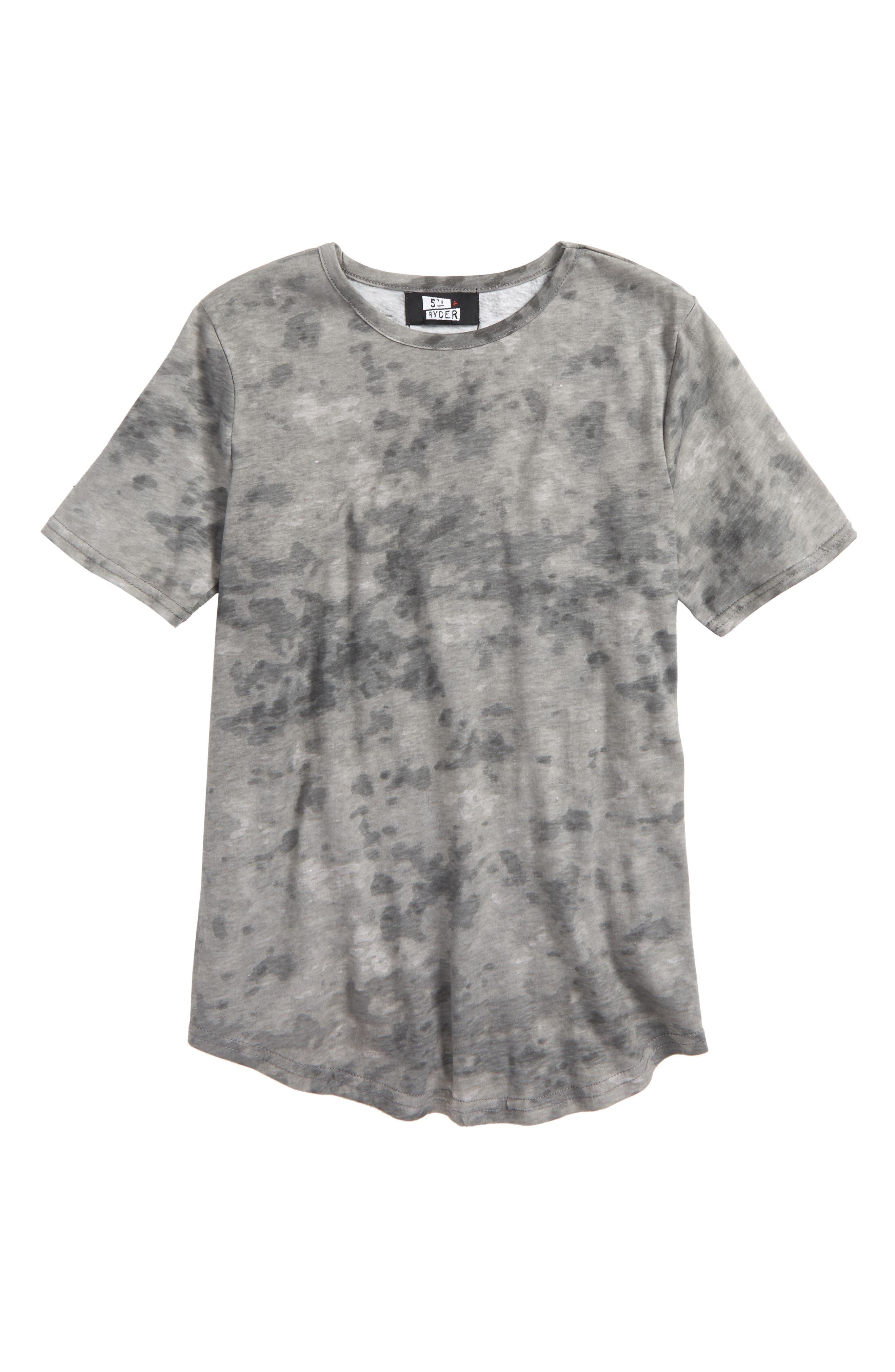 Tie Dye T-Shirt,                             Main thumbnail 1, color,                             Grey Snow Wash Print