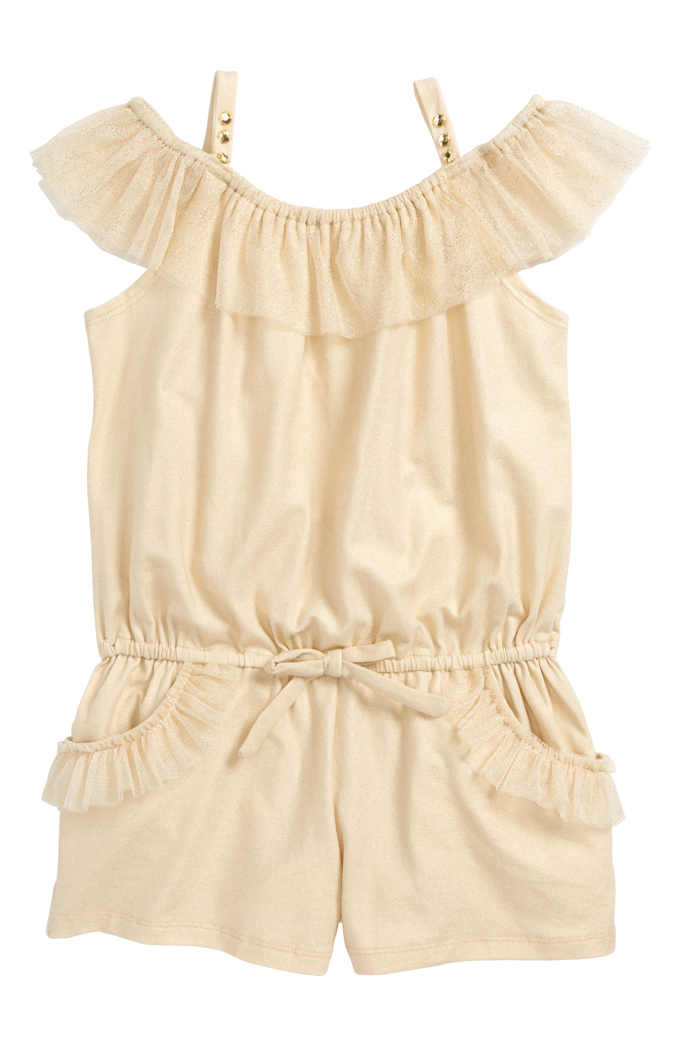 Glitter Tulle Ruffle Cold Shoulder Romper,                             Main thumbnail 1, color,                             Gold