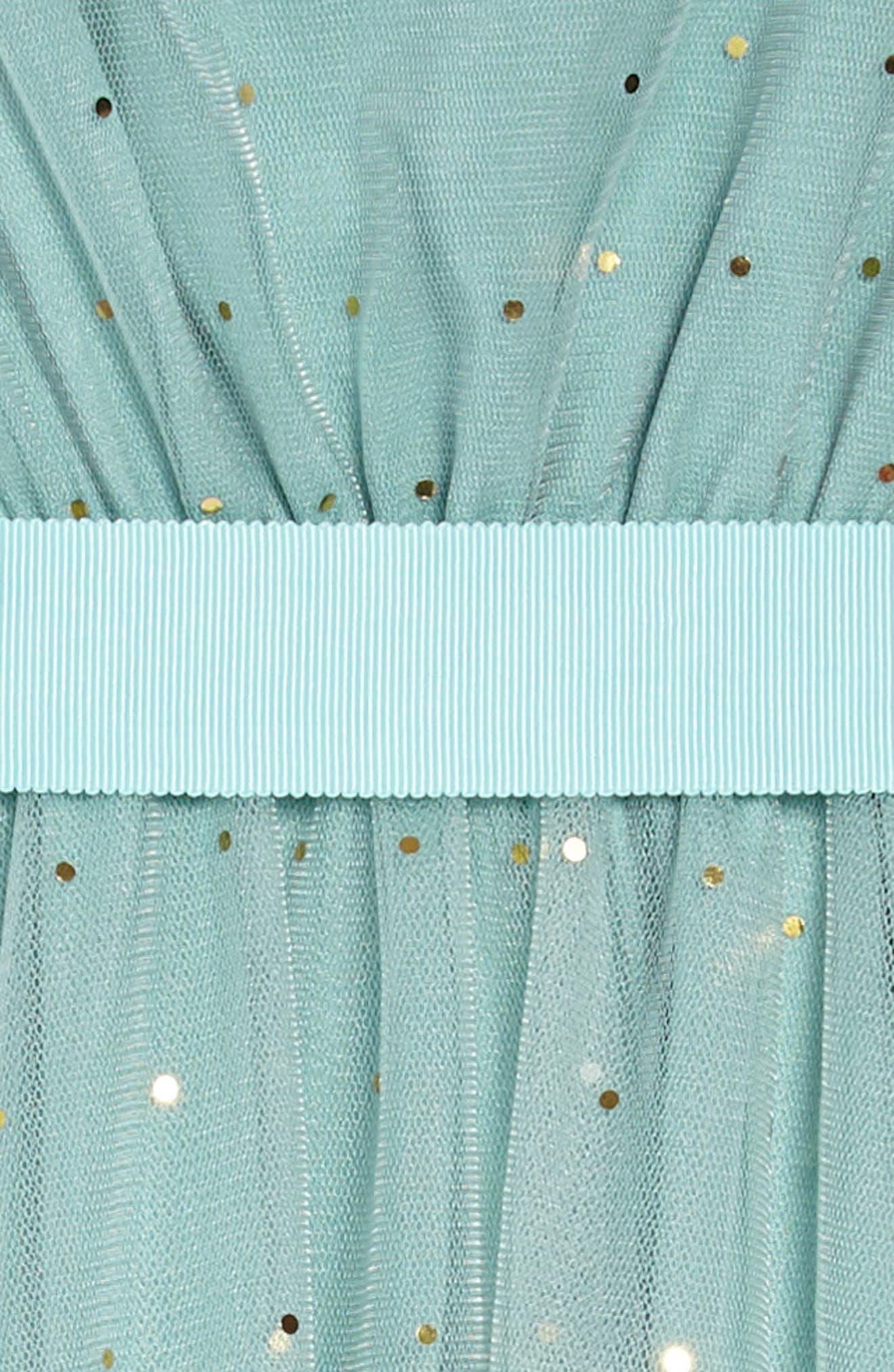 Christina Dot Tulle Fit & Flare Dress,                             Alternate thumbnail 3, color,                             Aqua