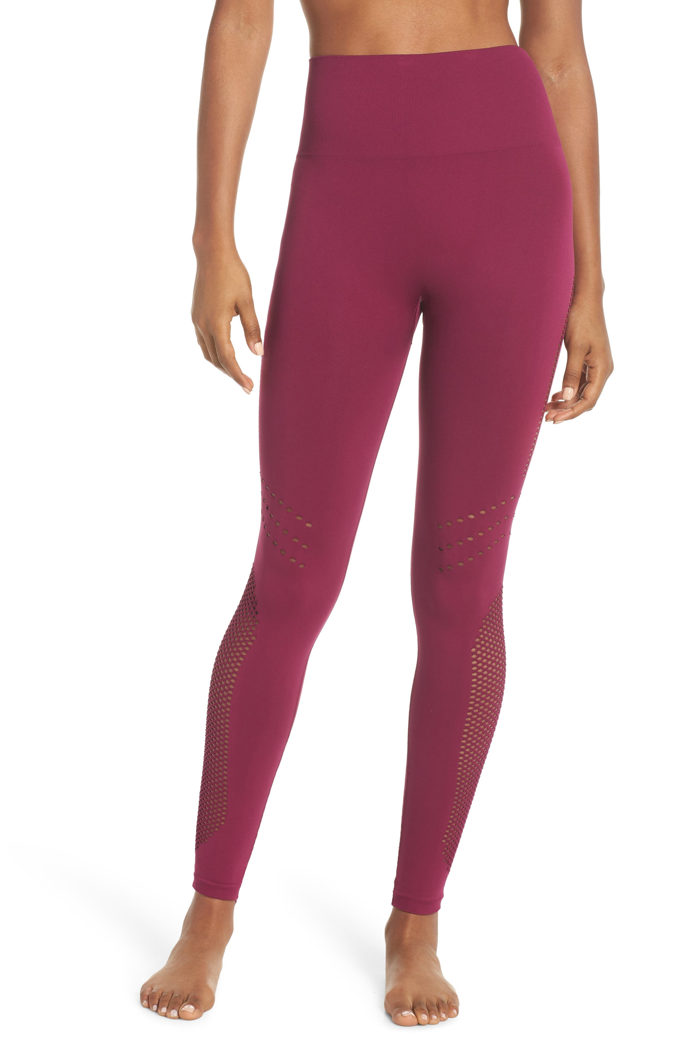 Essence Seamless High Waist Ankle Leggings,                             Main thumbnail 1, color,                             Purple Magenta