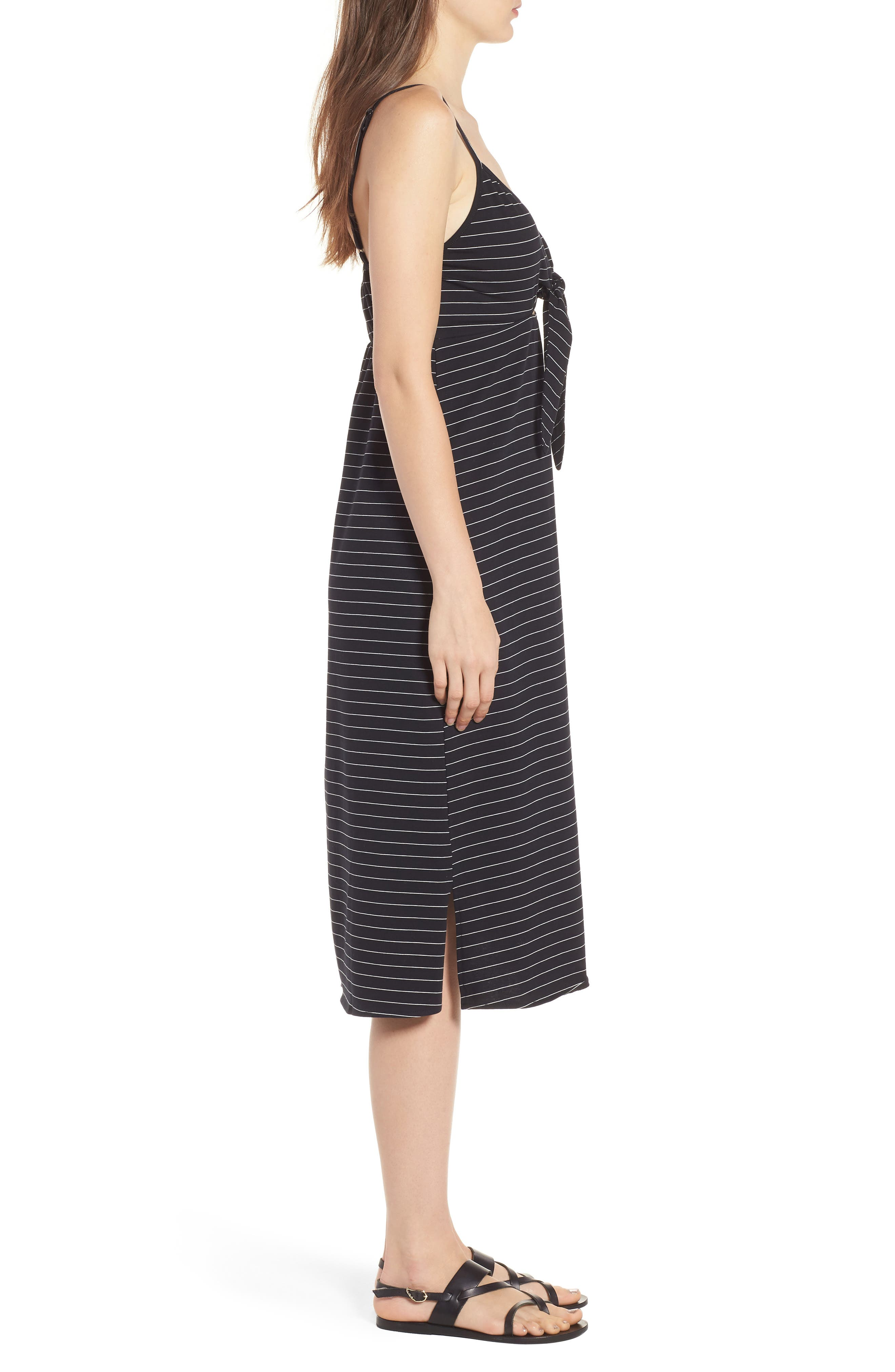 Suzanne Knot Front Dress,                             Alternate thumbnail 4, color,                             Black