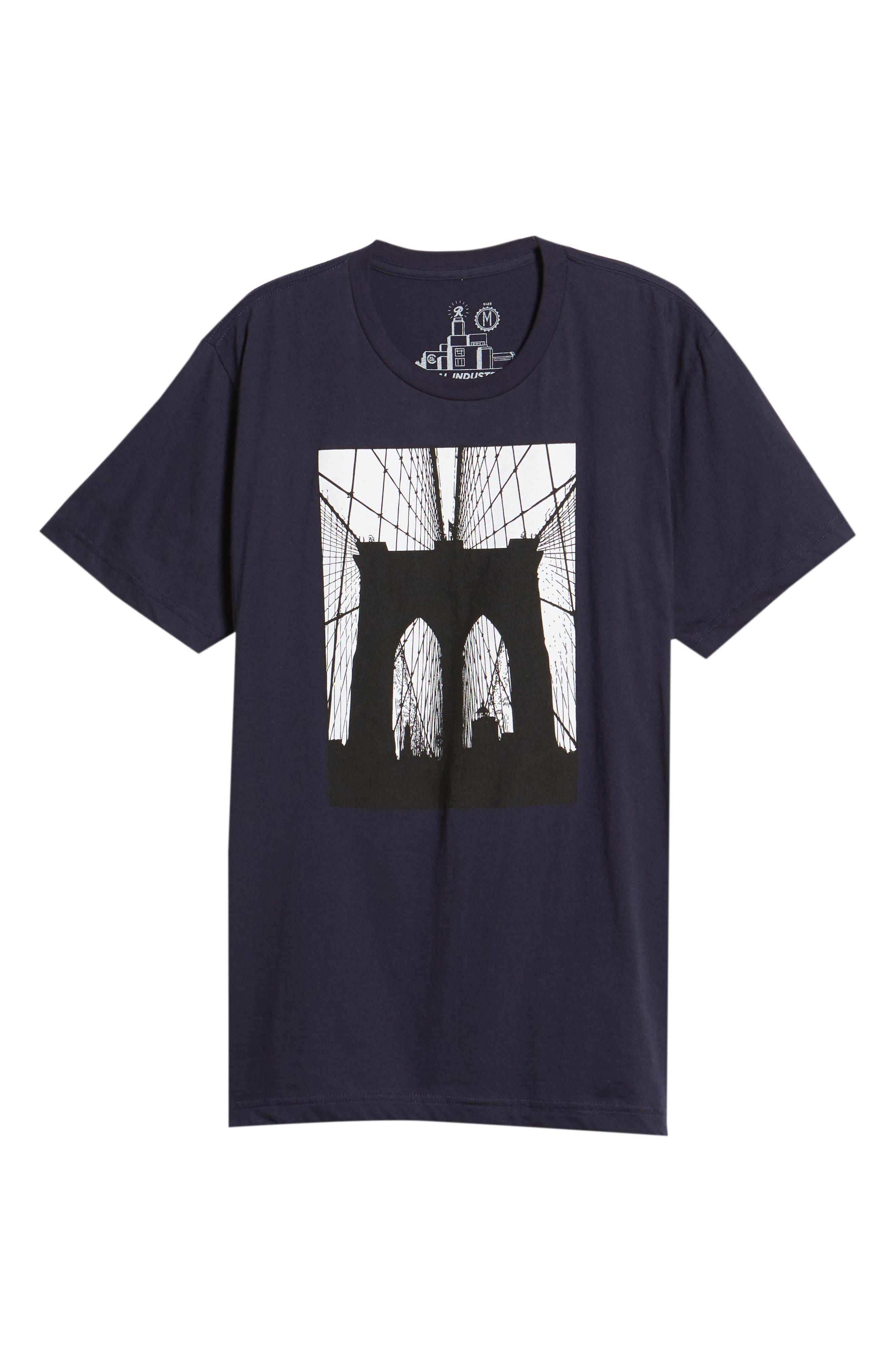 Brooklyn Bridge Graphic T-Shirt,                             Alternate thumbnail 6, color,                             Navy