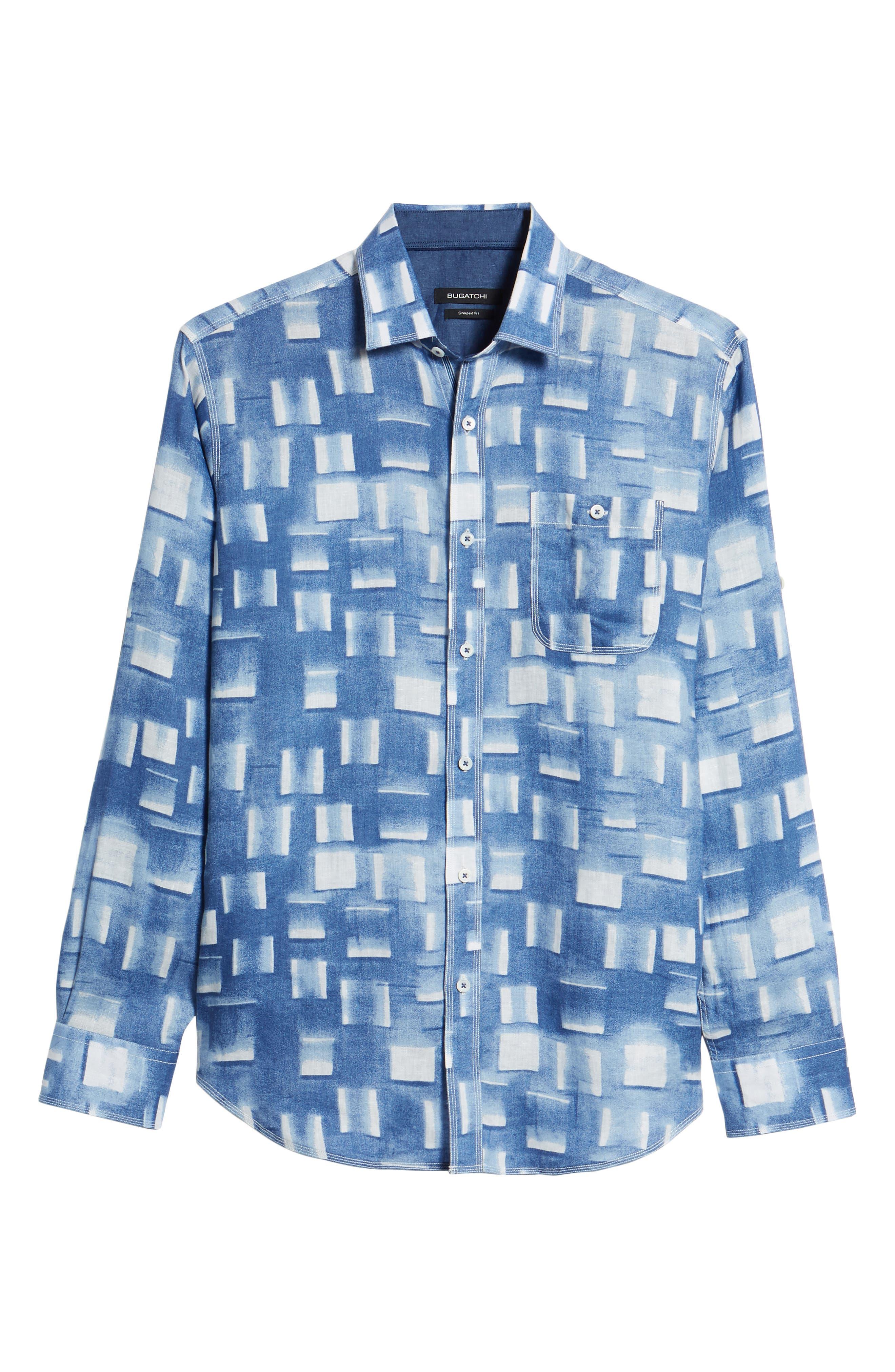 Shaped Fit Print Linen Sport Shirt,                             Alternate thumbnail 6, color,                             Air Blue