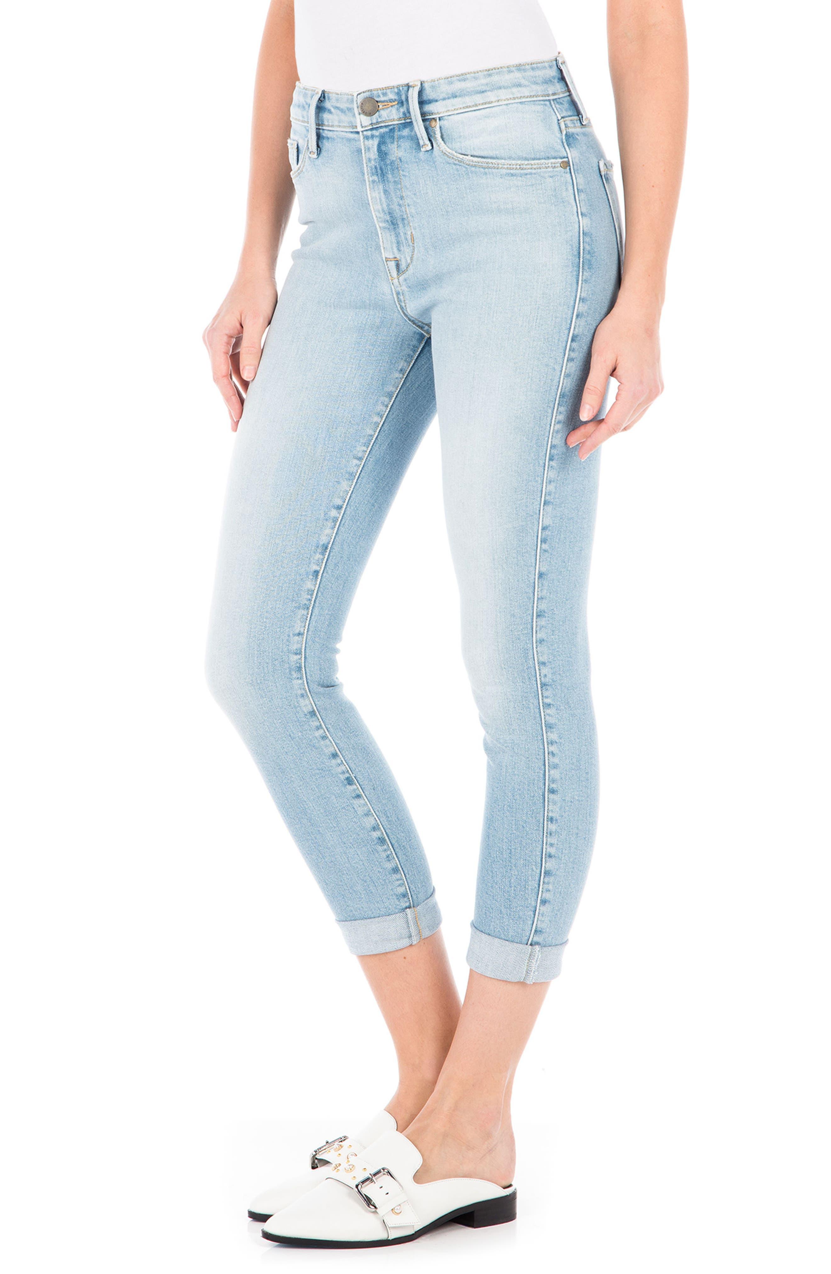 Gwen High Waist Crop Skinny Jeans,                             Alternate thumbnail 3, color,                             Daydream Blue