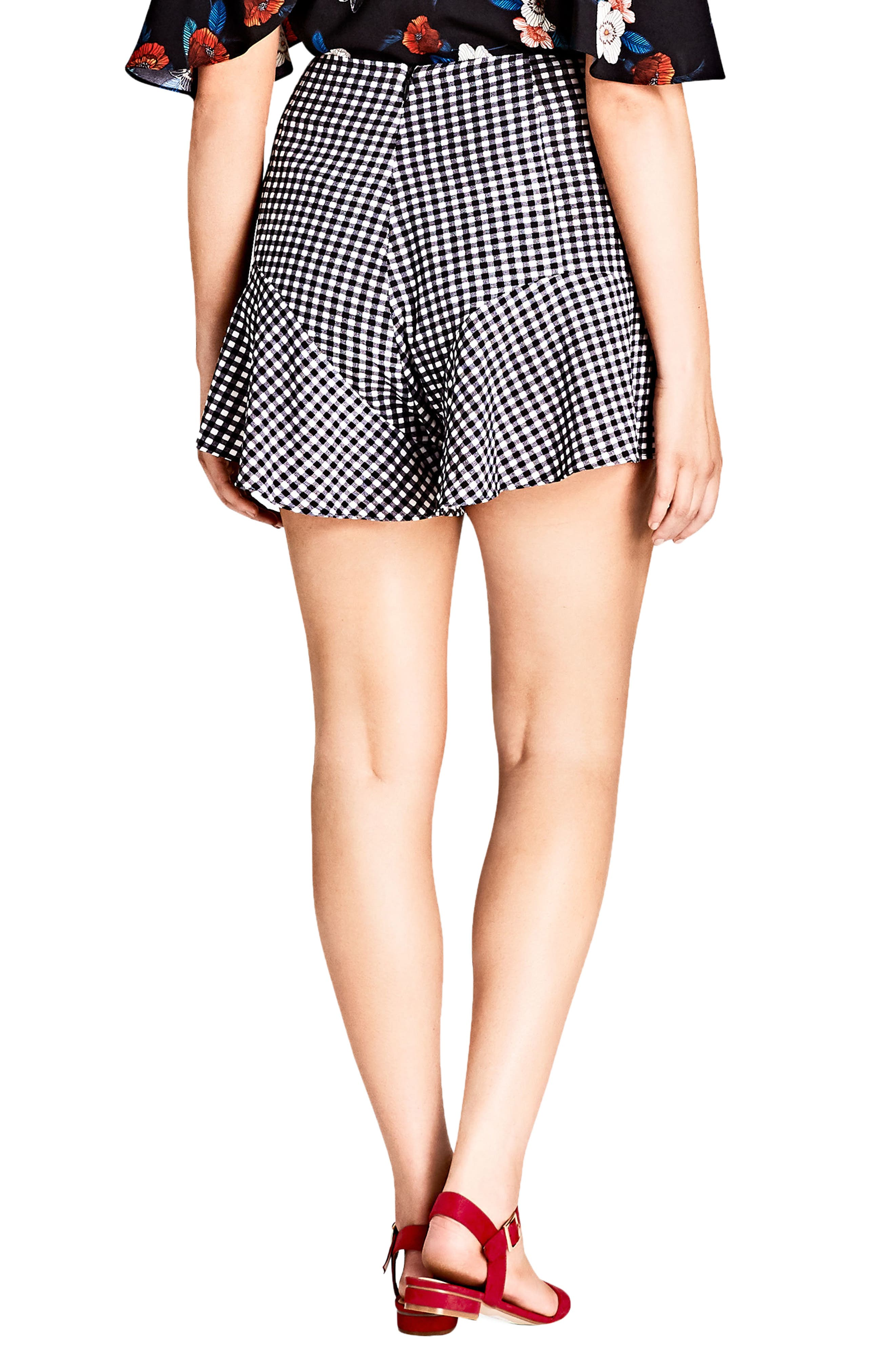 Cute Gingham Flutter Shorts,                             Alternate thumbnail 2, color,                             Black Check