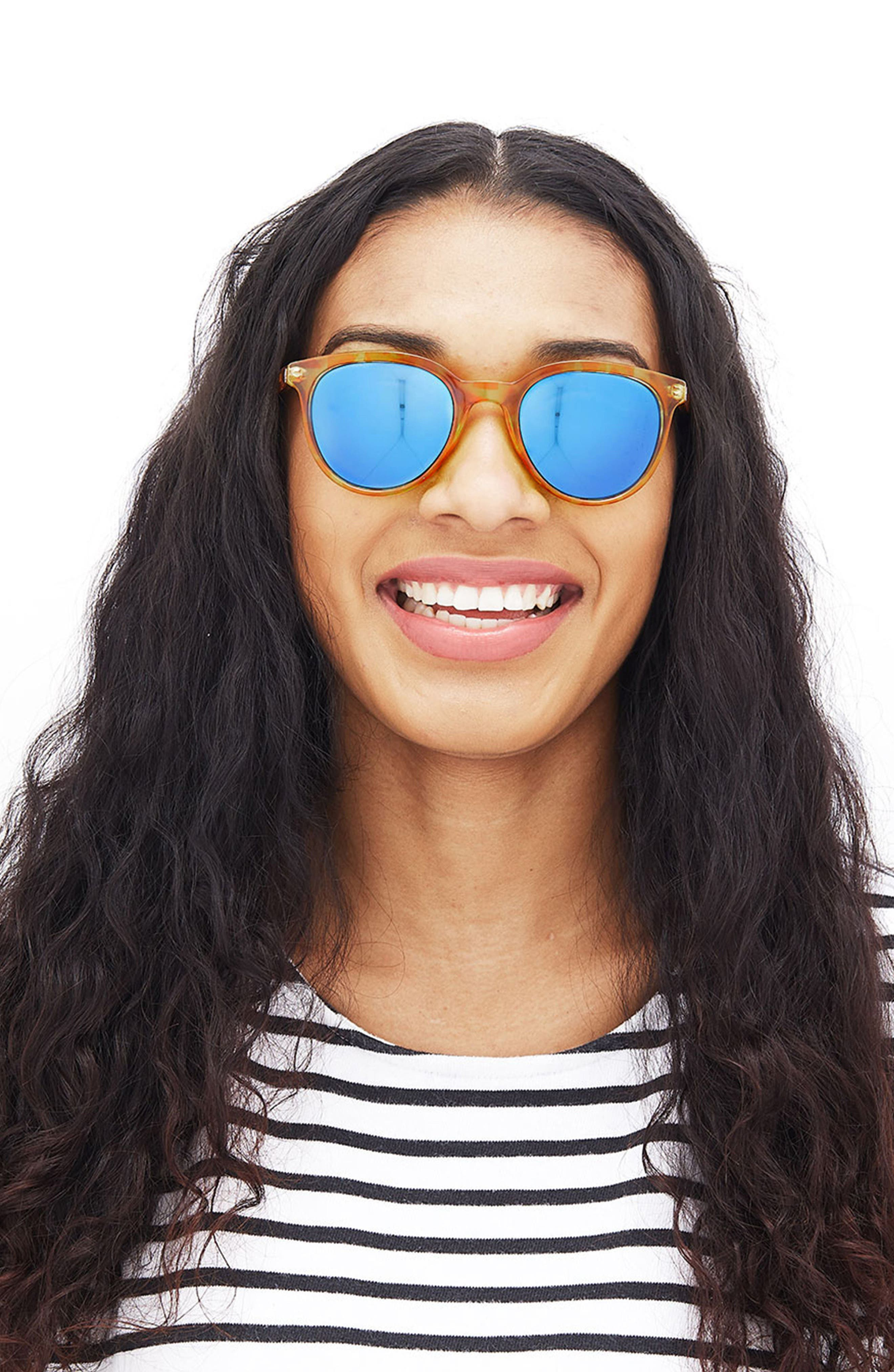 Makani 51mm Mirrored Polarized Sunglasses,                             Alternate thumbnail 2, color,                             Blond Tortoise/ Aqua