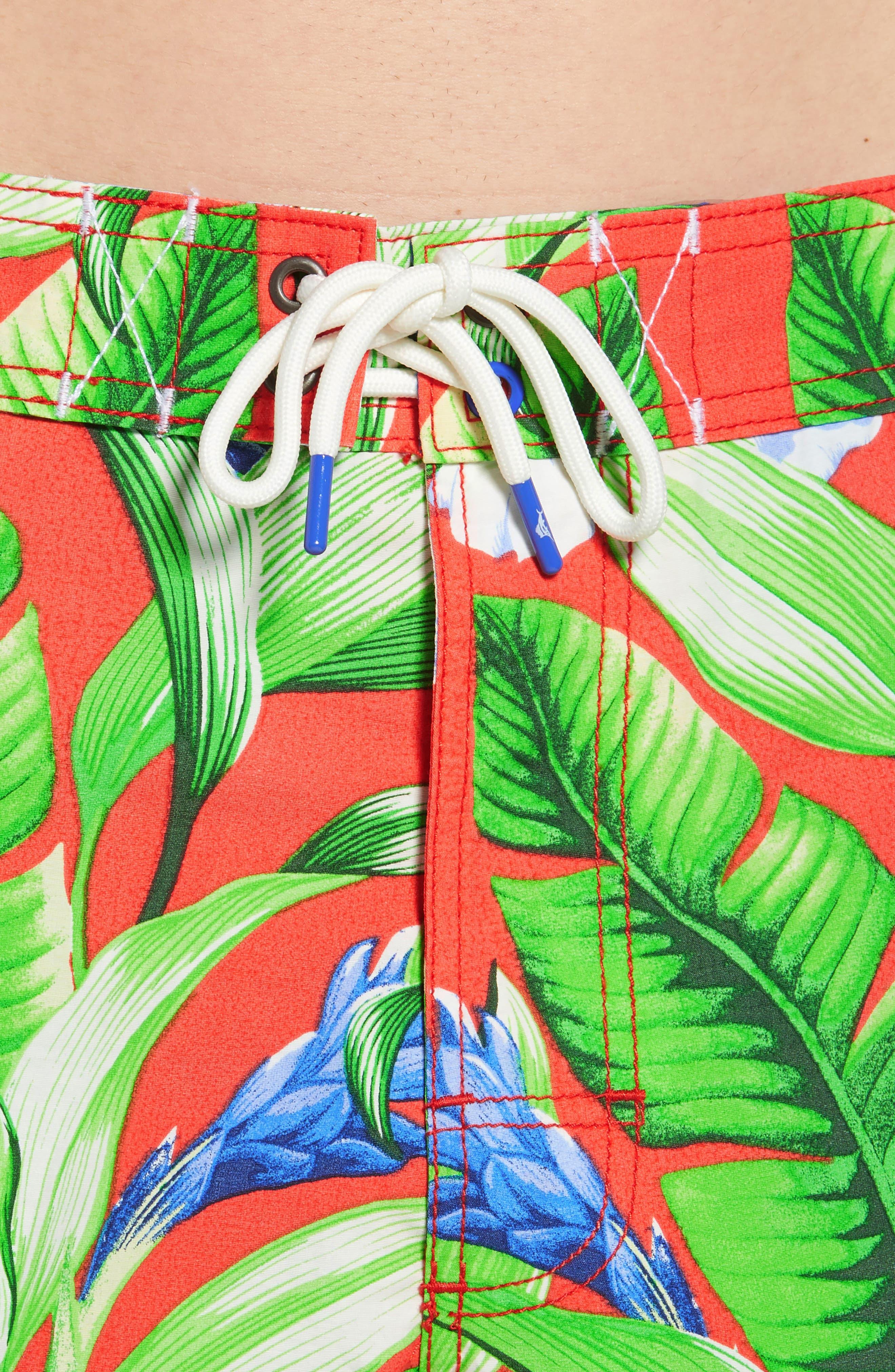 Baja Tulum Bloom Board Shorts,                             Alternate thumbnail 4, color,                             Fire Orange
