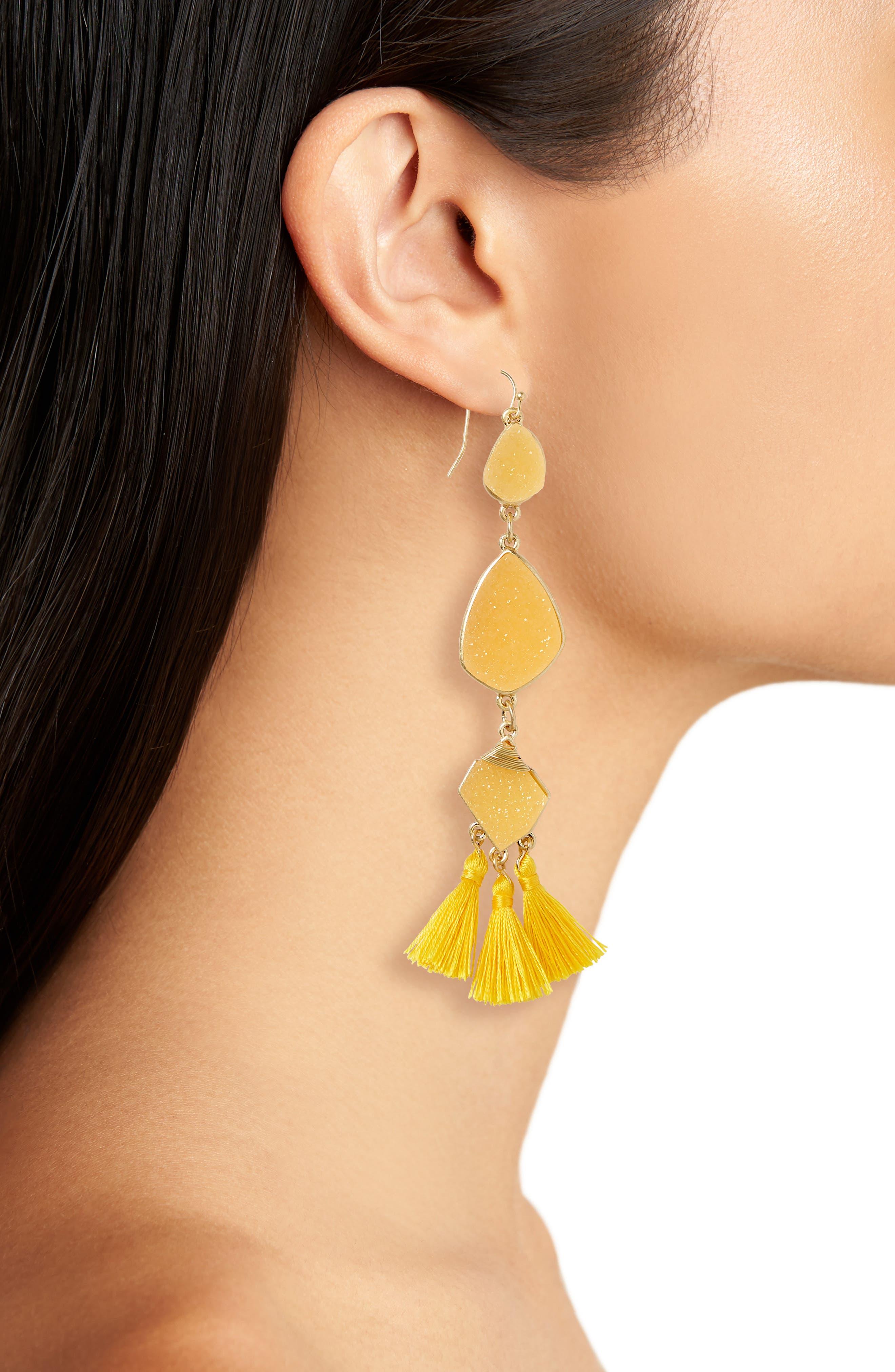 Drusy Tassel Earrings,                             Alternate thumbnail 2, color,                             Yellow