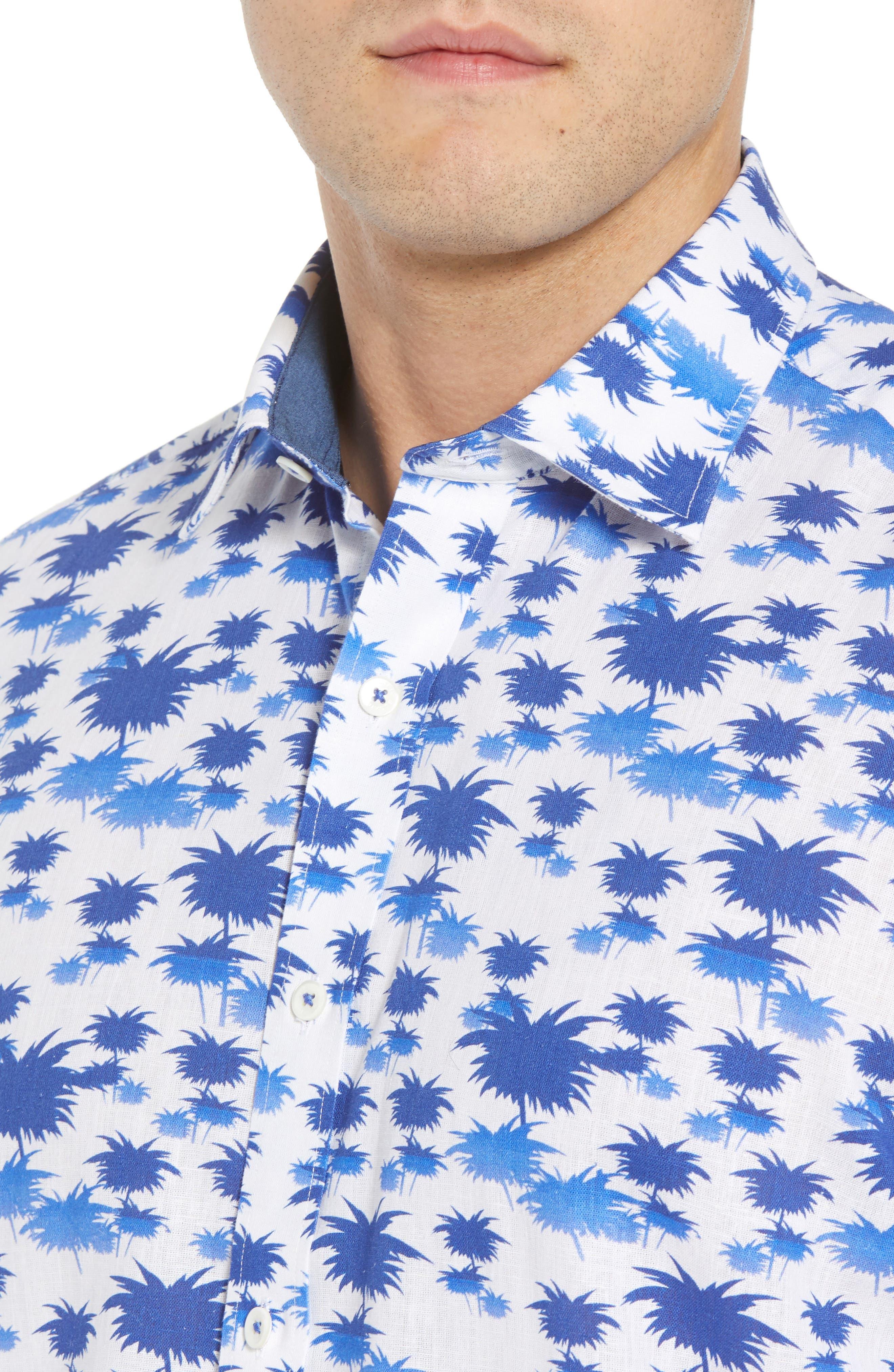 Classic Fit Palm Print Sport Shirt,                             Alternate thumbnail 2, color,                             Classic Blue