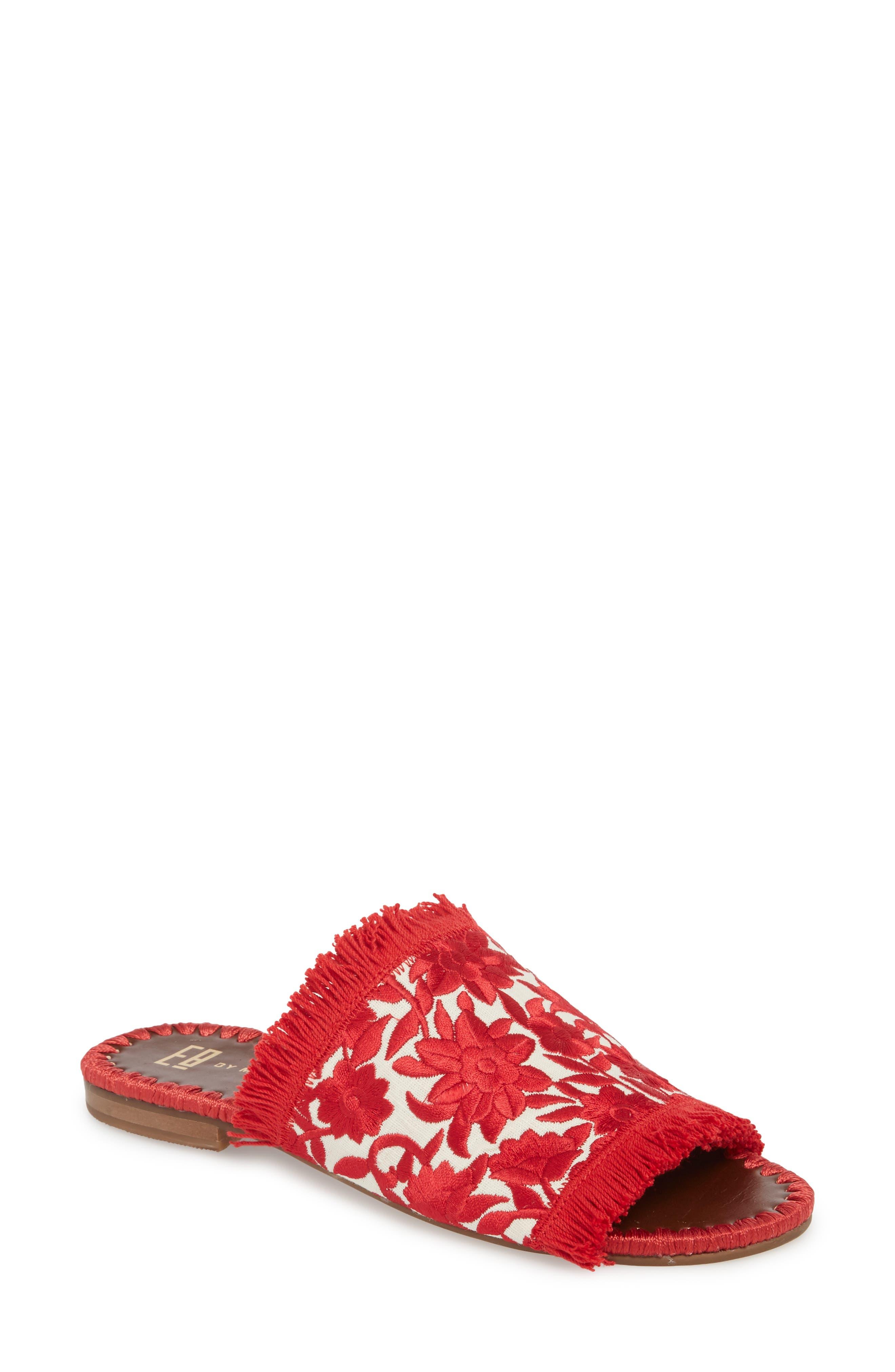 Tavie Fringed Slide Sandal,                         Main,                         color, Red/ Cream Fabric