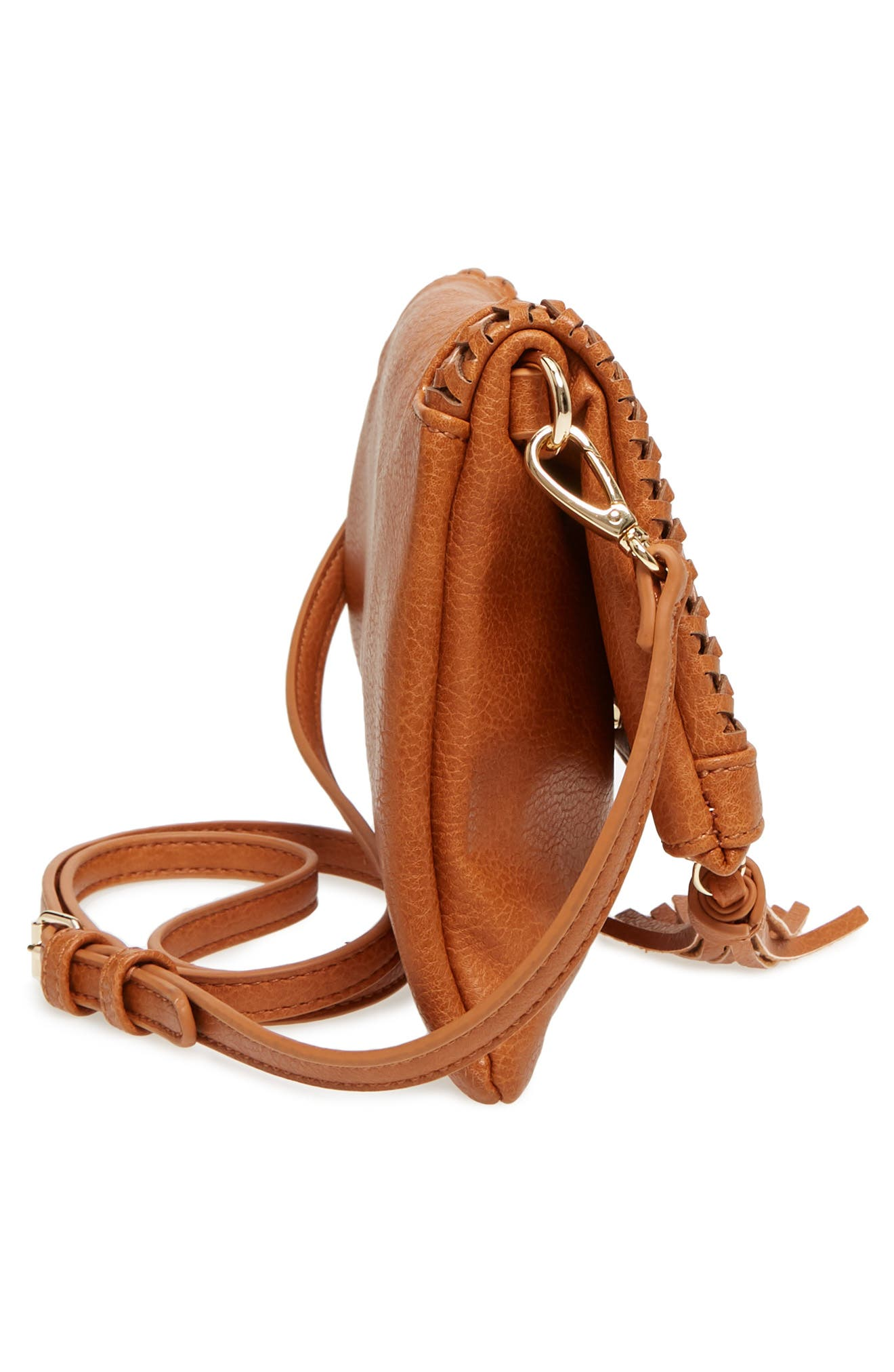 Tara Whipstitched Faux Leather Clutch,                             Alternate thumbnail 5, color,                             Cognac