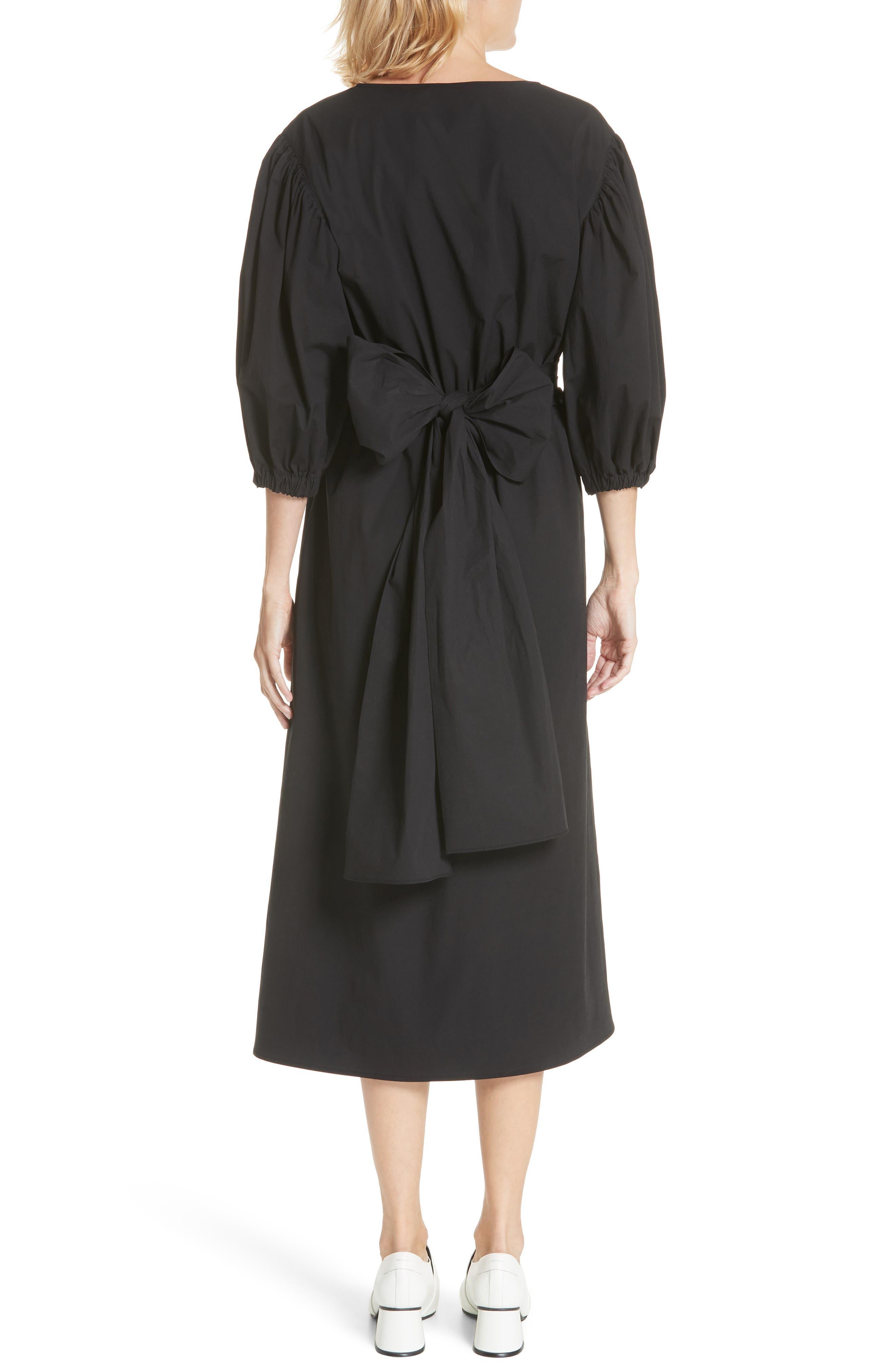 Miriam Wrap Dress,                             Alternate thumbnail 2, color,                             Cotton Black