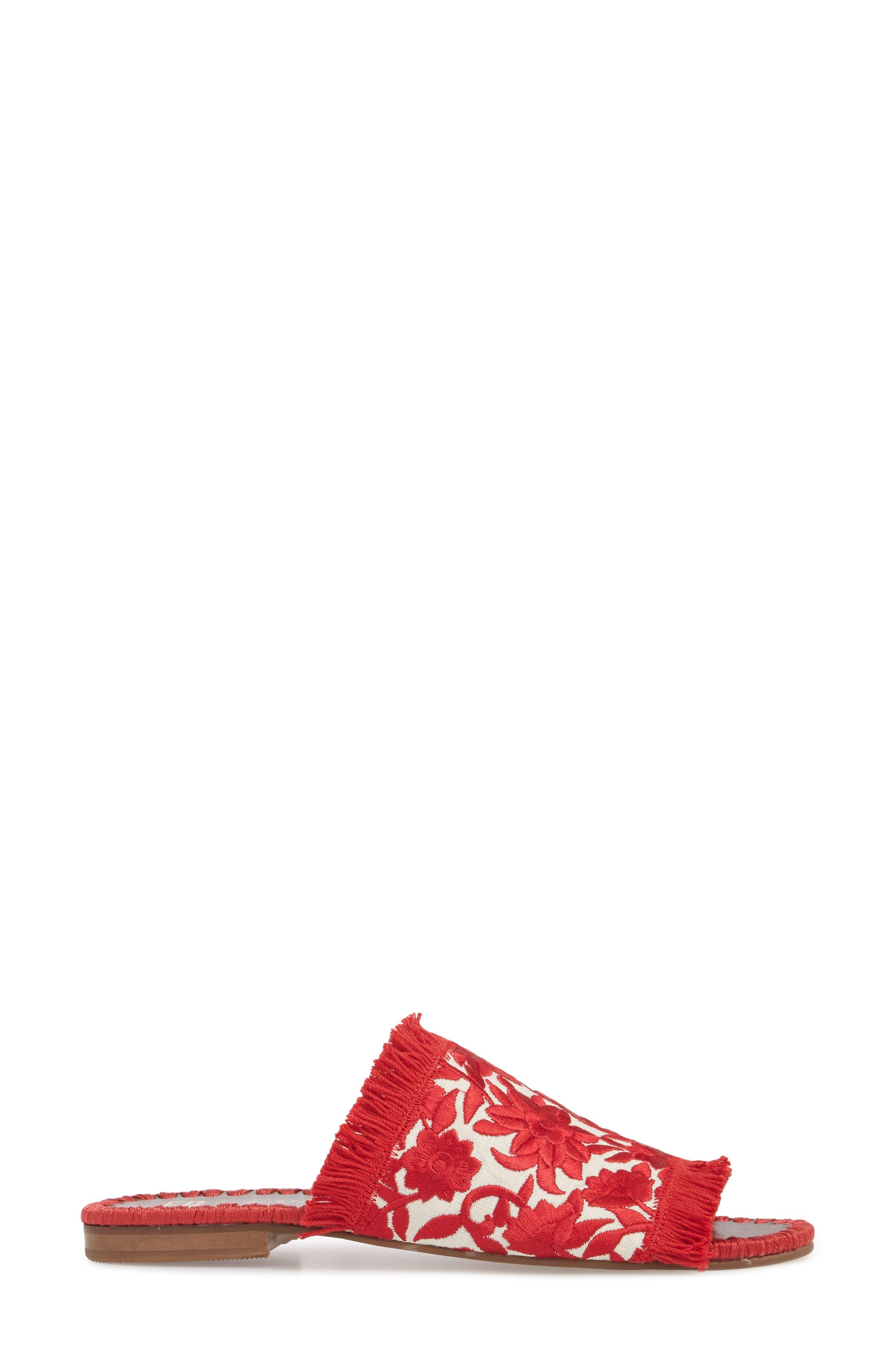 Tavie Fringed Slide Sandal,                             Alternate thumbnail 3, color,                             Red/ Cream Fabric