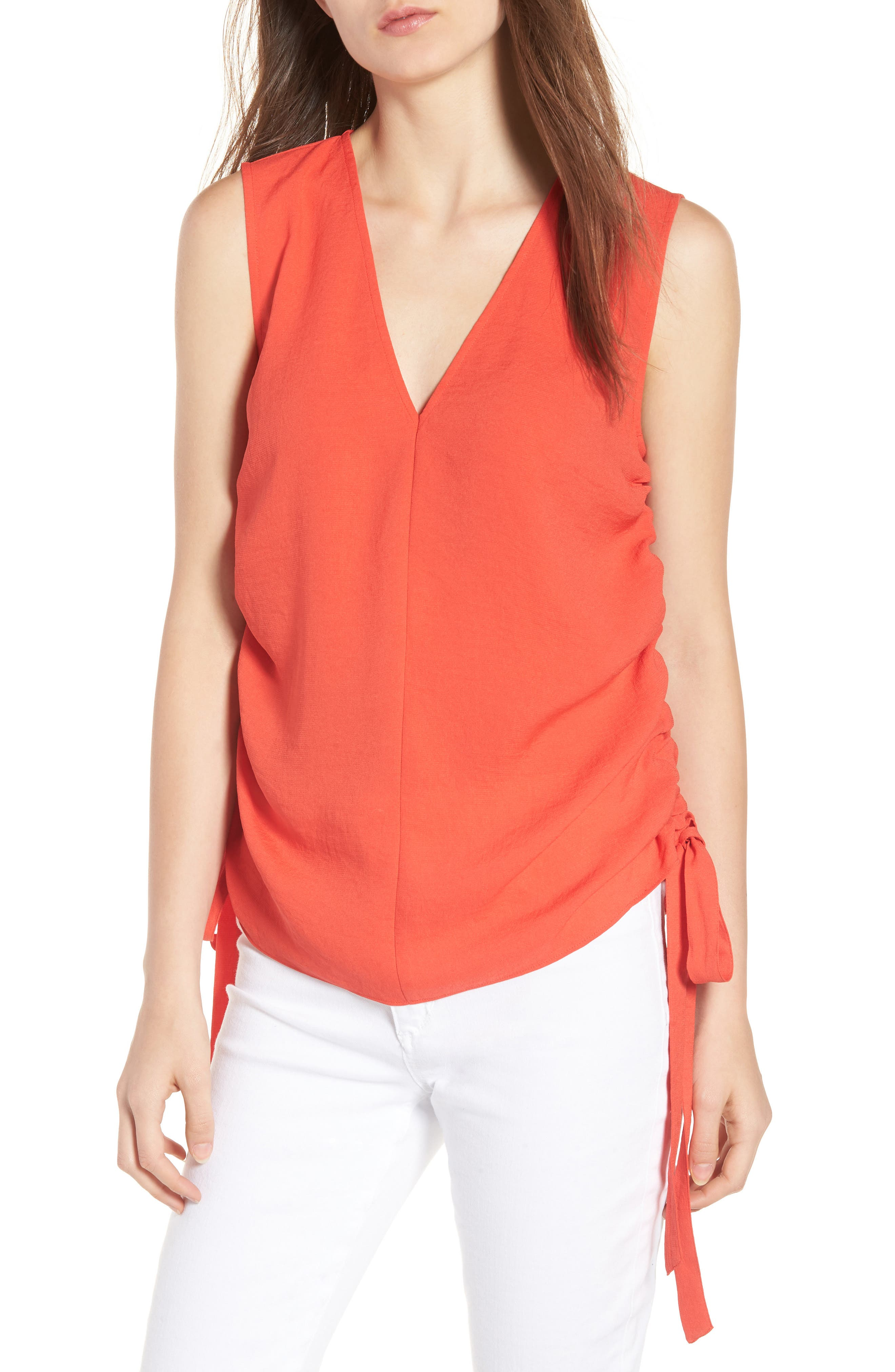 Side Cinch Tank,                         Main,                         color, Red Poppy