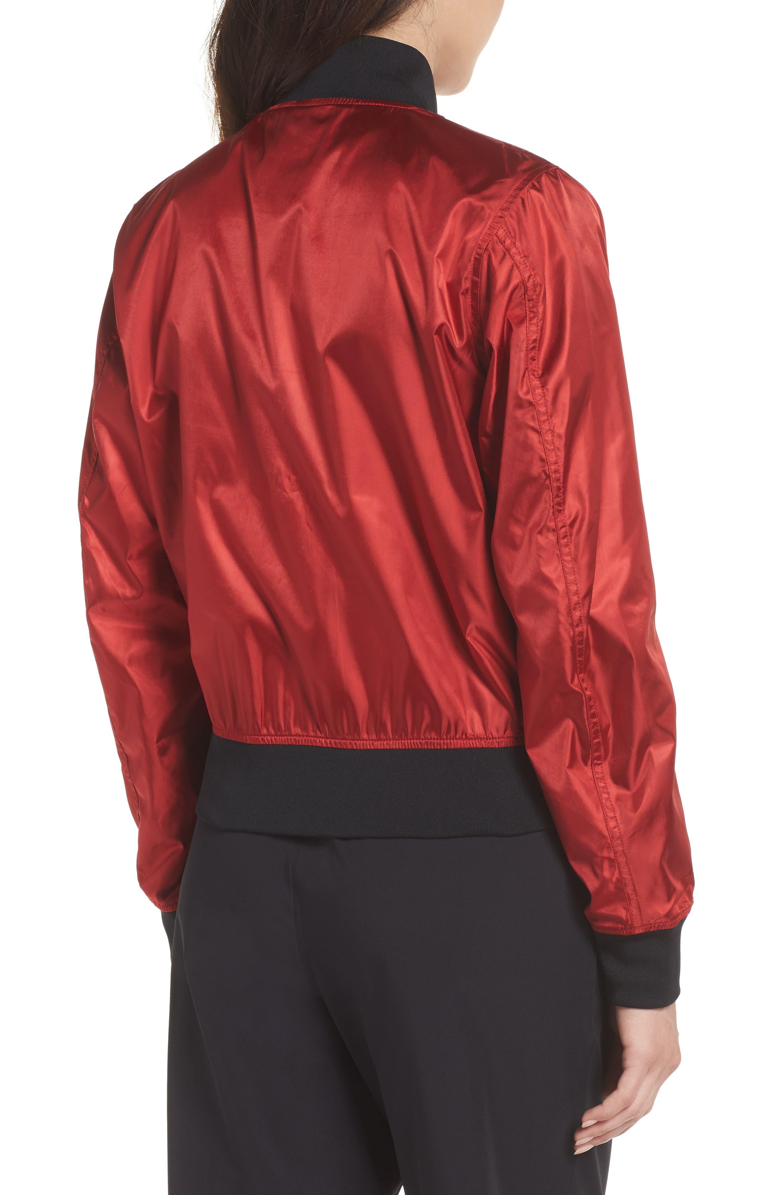 NikeLab Collection Women's Satin Bomber Jacket,                             Alternate thumbnail 2, color,                             Gym Red/ Black