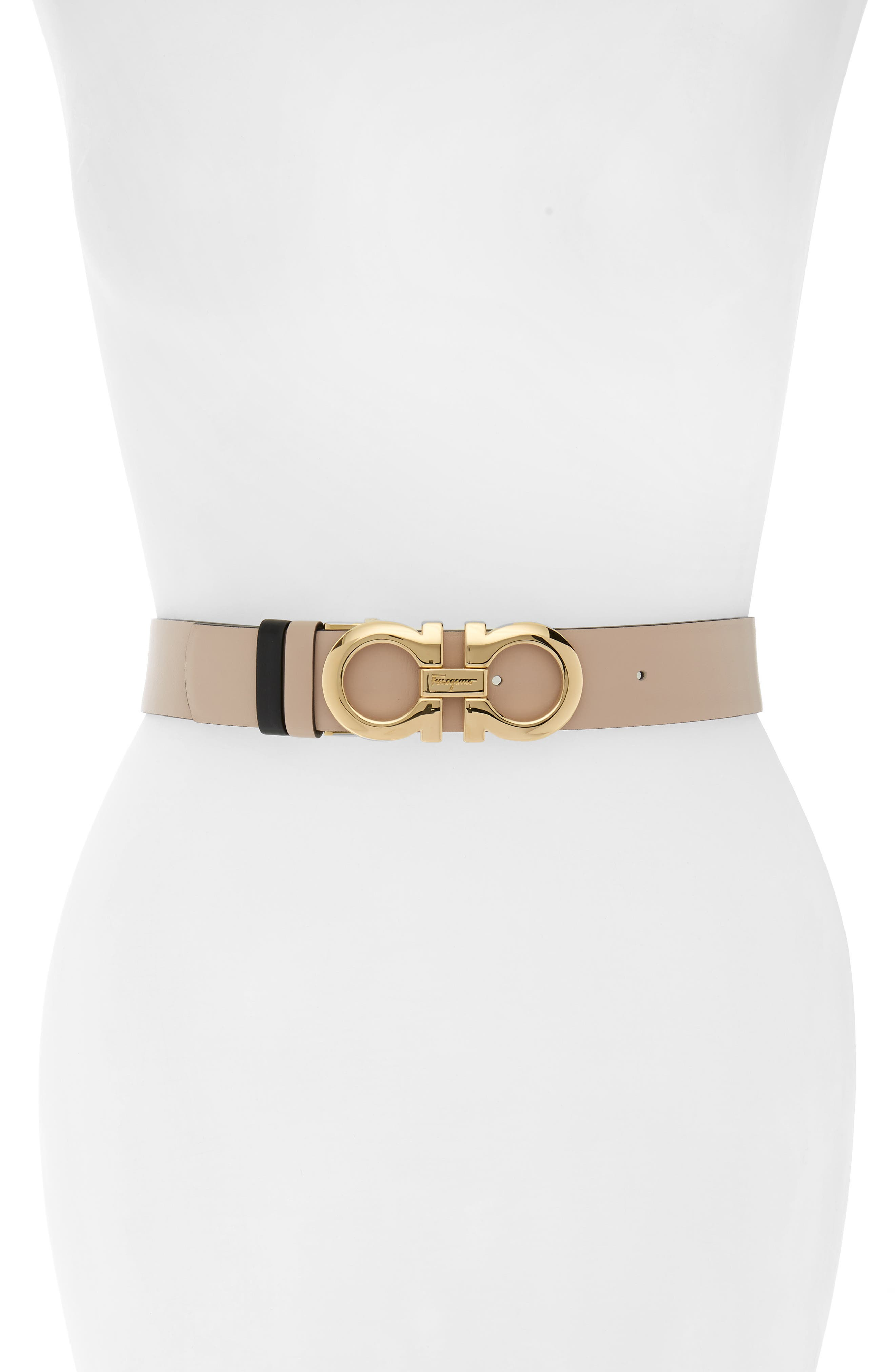 Reversible Gancini Leather Belt,                         Main,                         color, New Bisque/ Nero