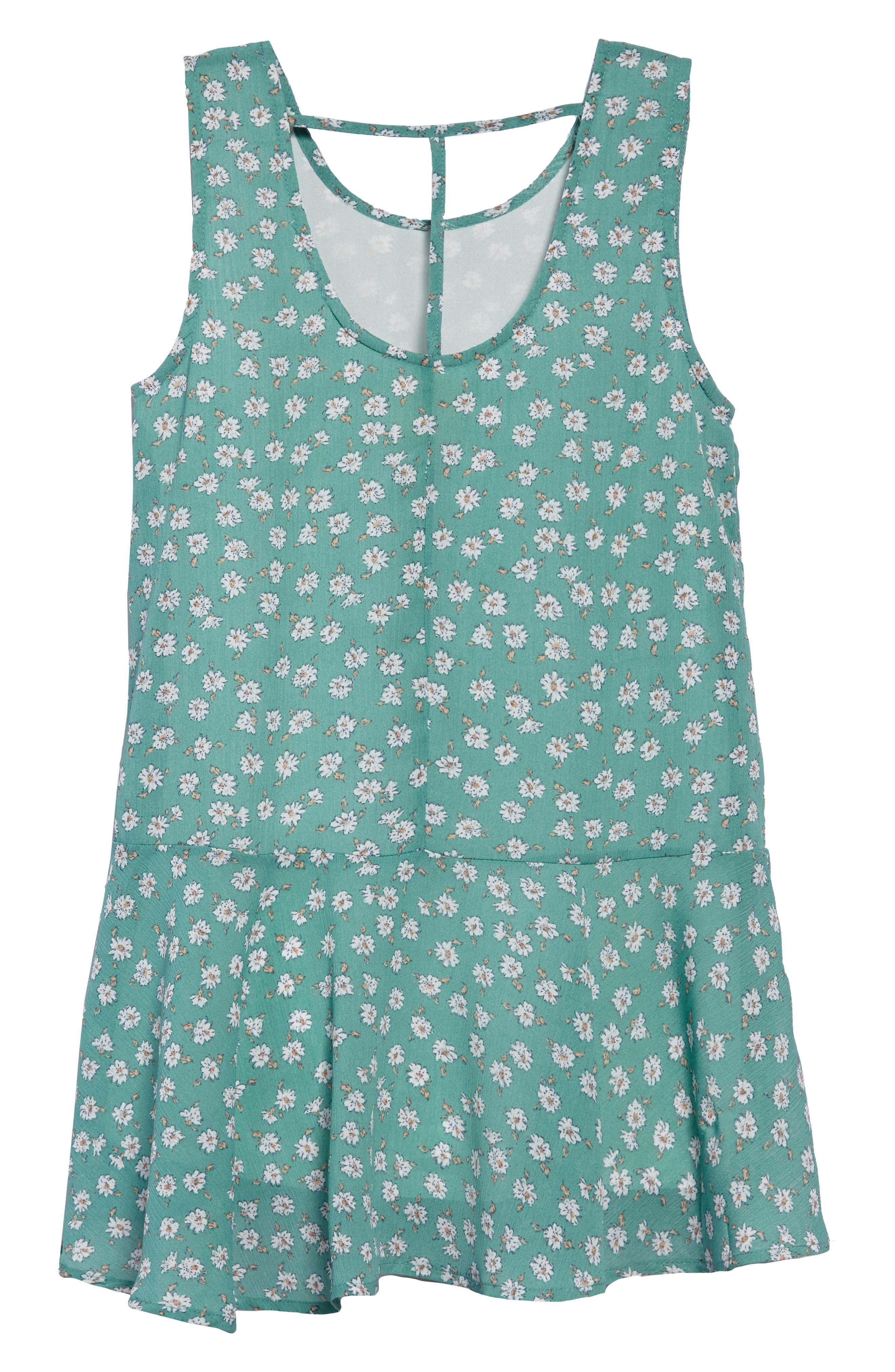 Brooklyn Floral Drop Waist Dress,                             Alternate thumbnail 2, color,                             Mint